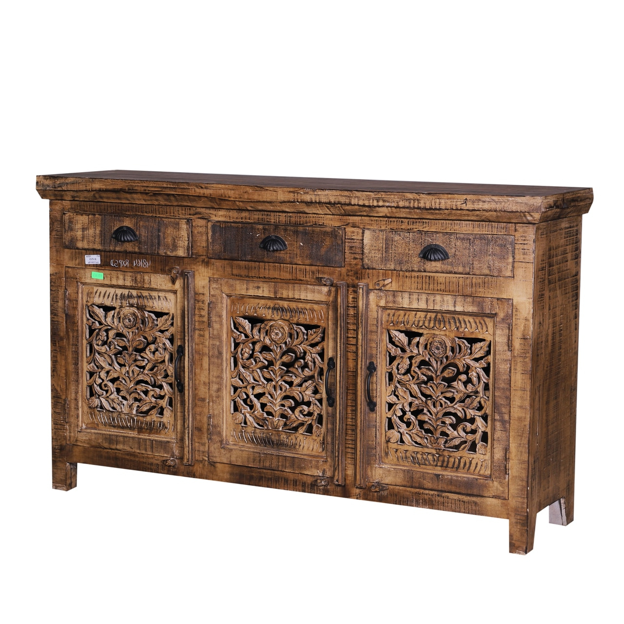 Carved Door Credenza Sideboard Buffets – Reclaimed Wood Furniture With Regard To 2019 Carved 4 Door Metal Frame Sideboards (View 7 of 20)