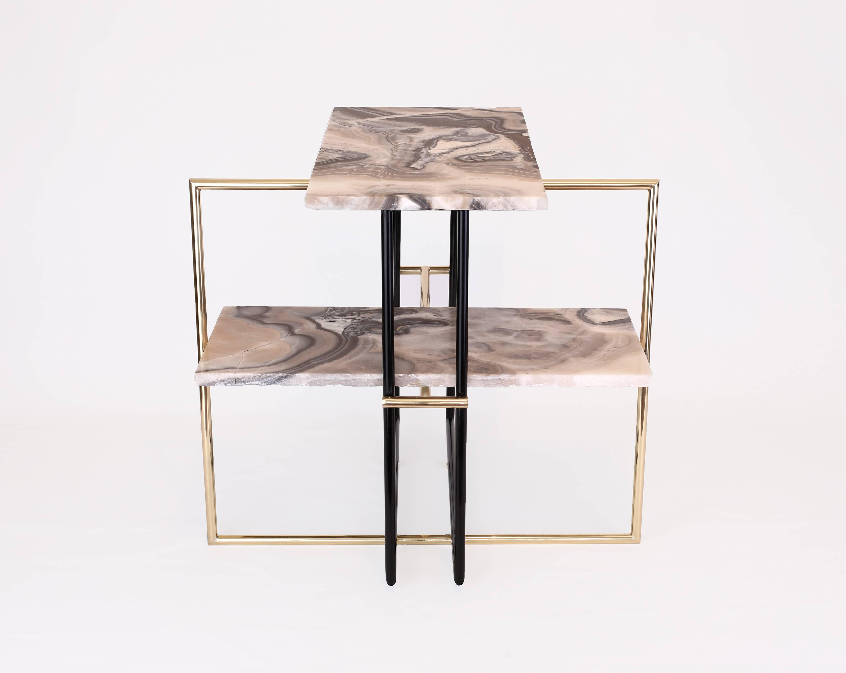 Casbah Coffee Side Tables Regarding Current Mexican Onyx Stone And Brass Uña Side Coffee Table Designnomade (View 12 of 20)