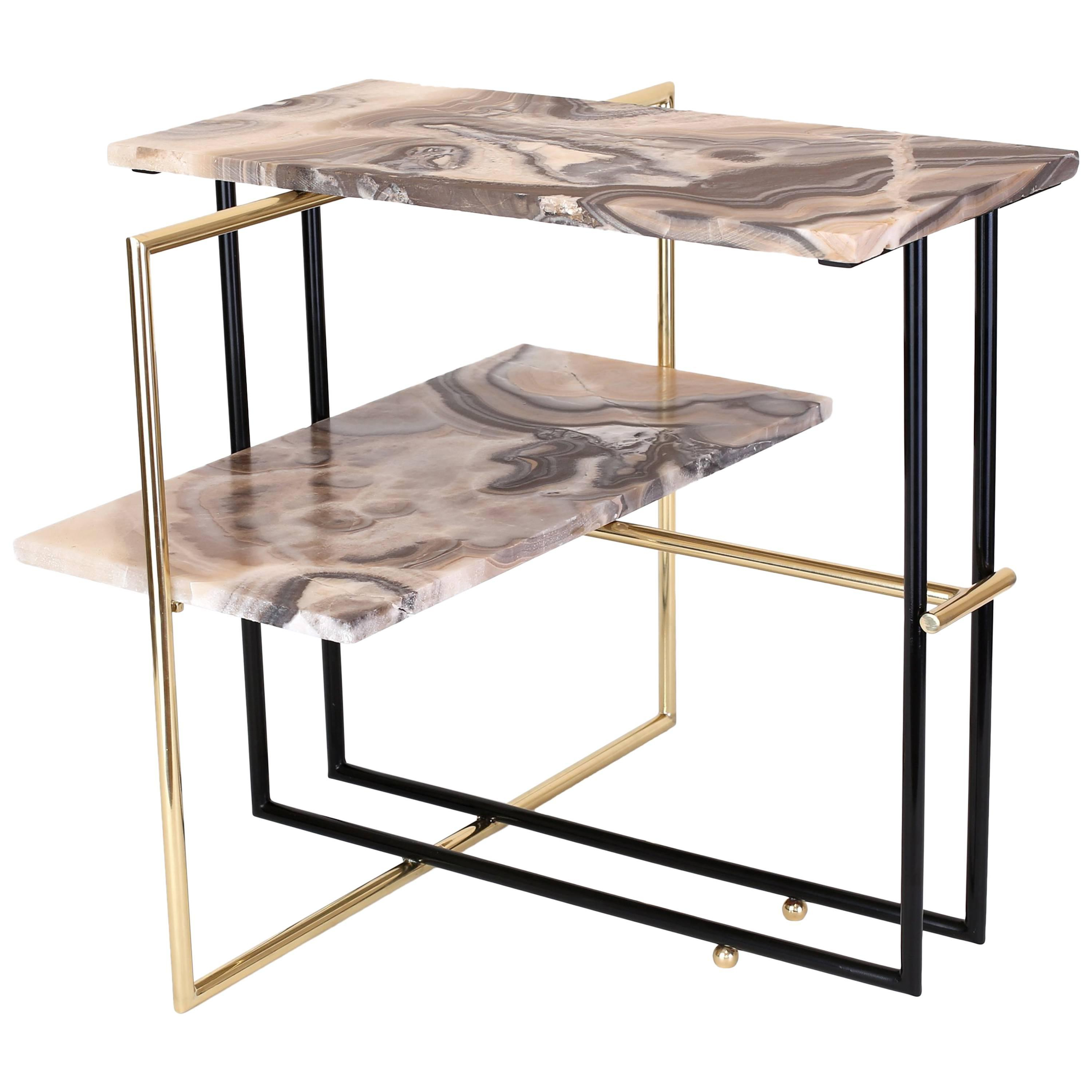 Casbah Coffee Side Tables Throughout Current Mexican Onyx Stone And Brass Uña Side Coffee Table Designnomade (View 15 of 20)