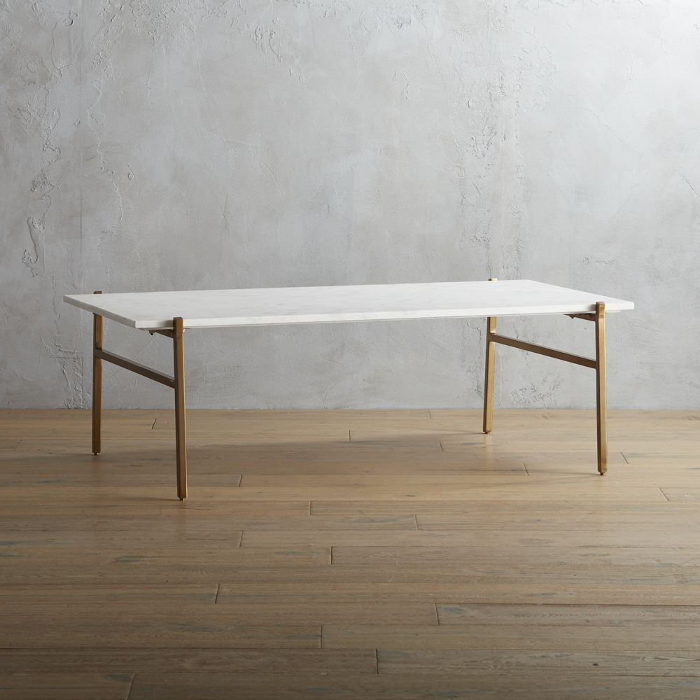 Cb2 – August Catalog 2016 – Slab Marble Coffee Table With Brass Base With Most Popular Slab Large Marble Coffee Tables With Brass Base (View 10 of 20)