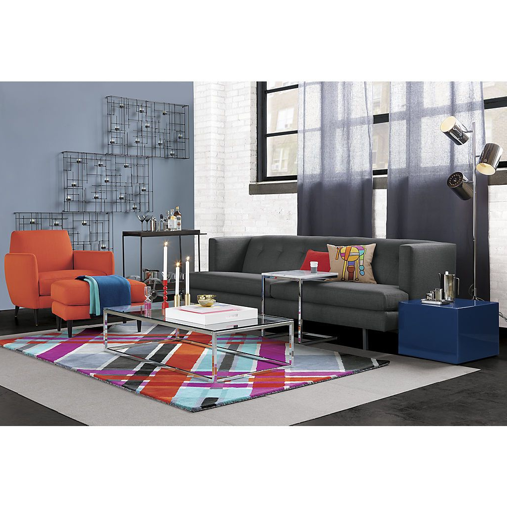 Cb2: Avec Carbon Sofa, Smart Glass Top Coffee Table, Modern Plaid With Latest Smart Glass Top Coffee Tables (View 4 of 20)