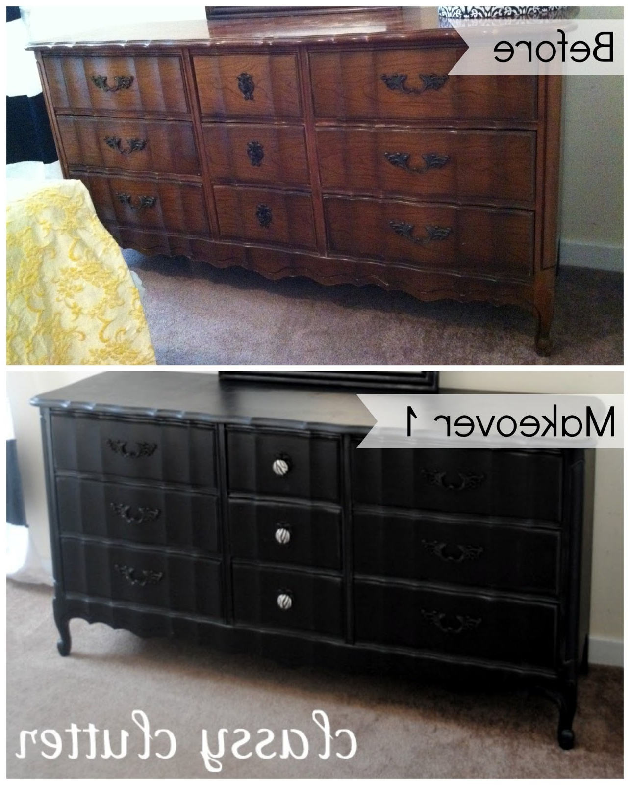 Chalk Paint Recipe And Chalk Paint Dresser Makeover Intended For Fashionable Rustic Black & Zebra Pine Sideboards (View 6 of 20)