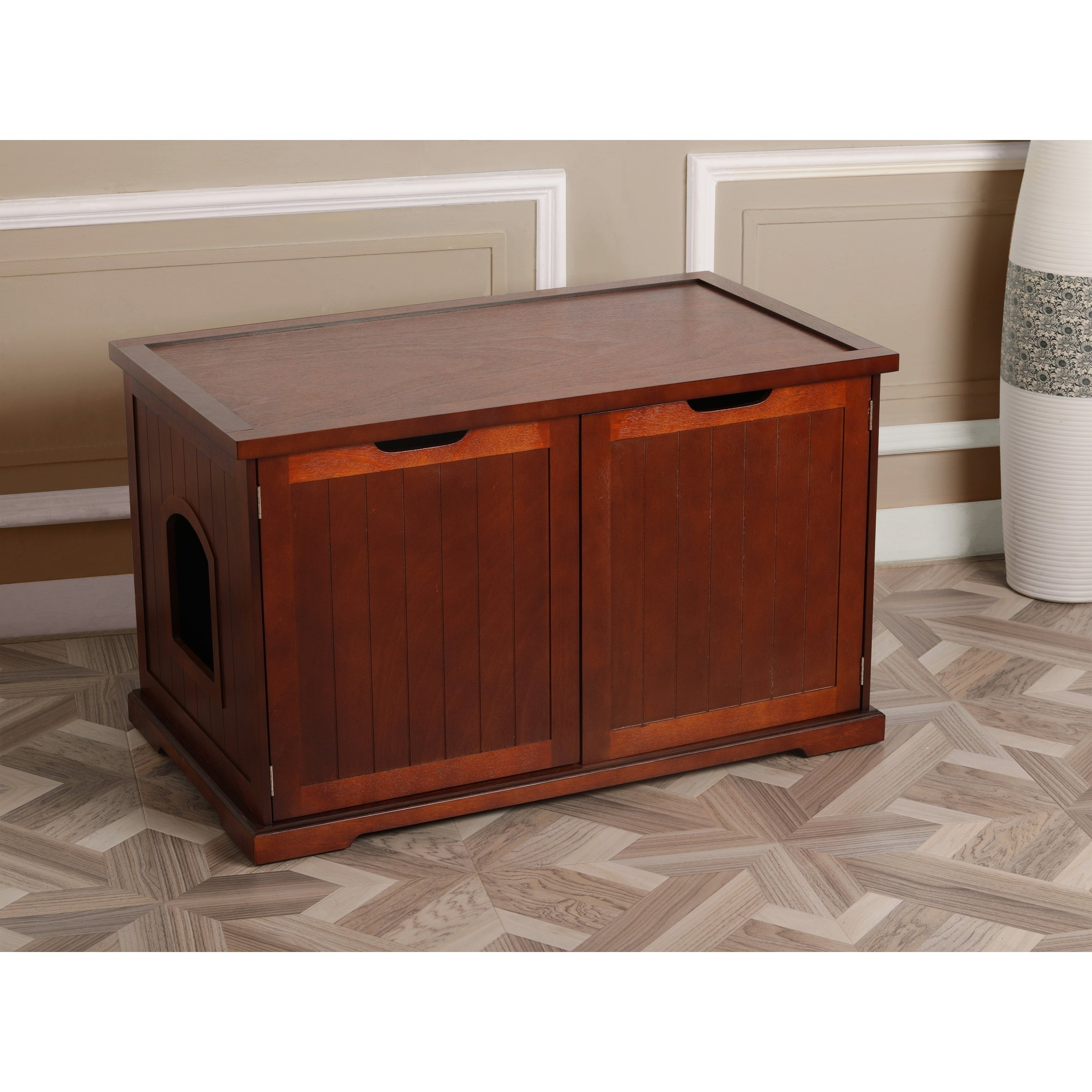Charcoal Finish 4 Door Jumbo Sideboards Throughout Well Known Shop Merry Products Walnut Cat Hidden Litter Box Furniture Bench (View 5 of 20)