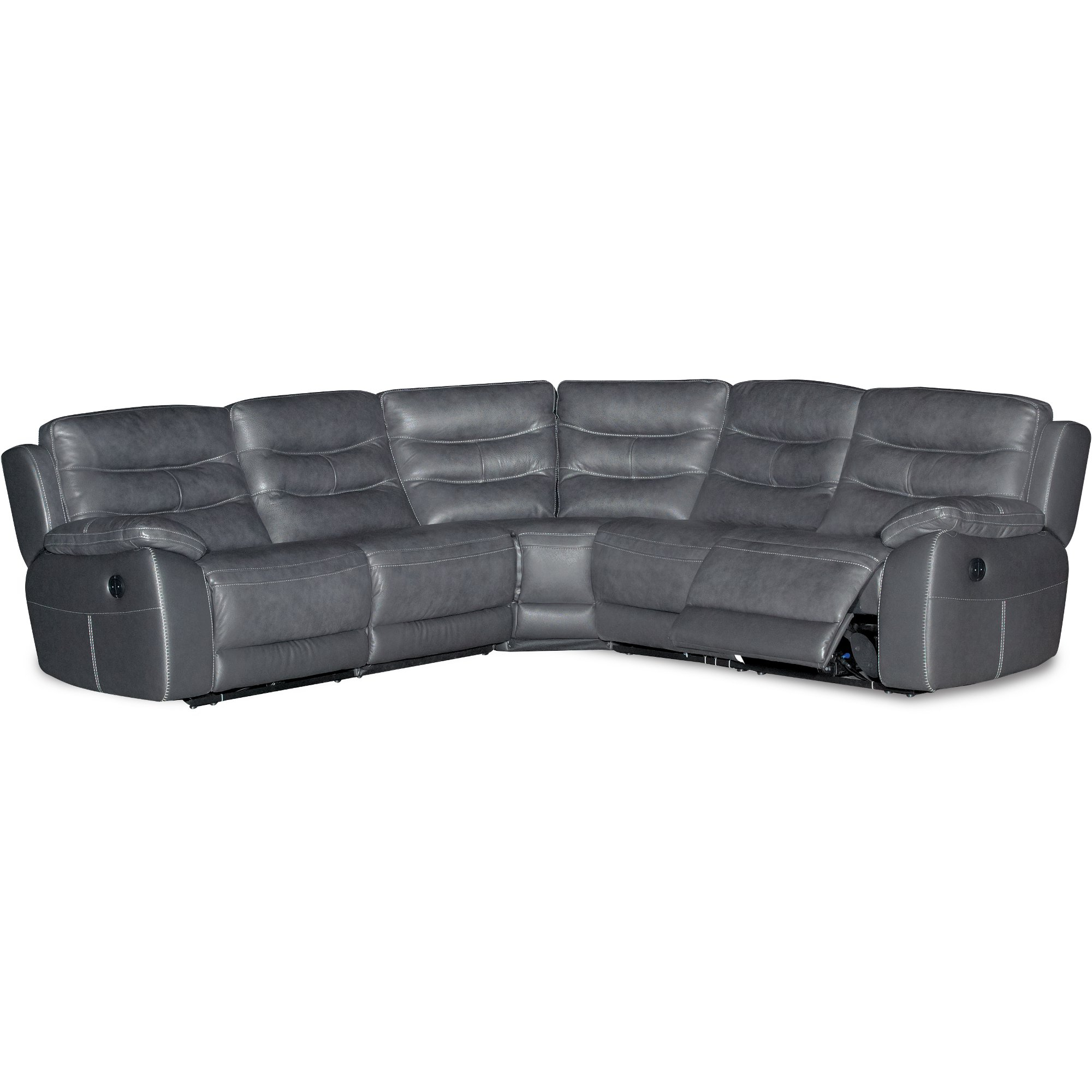 Charcoal Gray 5 Piece Power Reclining Sectional Sofa – Shawn (Gallery 8 of 20)