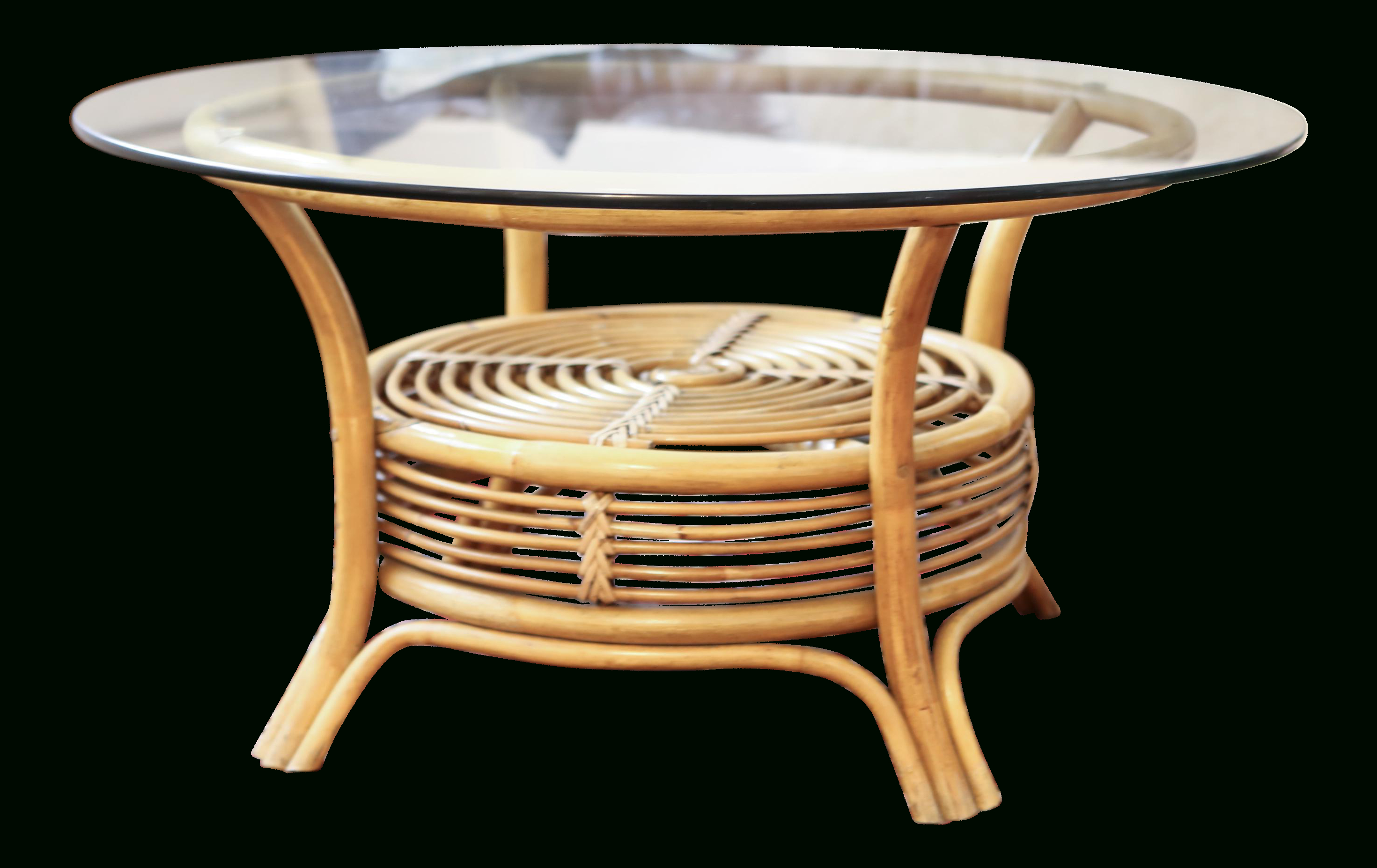 "Chevron 48"" Coffee Tables Throughout Fashionable Round Rattan Coffee Table With Glass Top – Answerplane (Gallery 16 of 19)"