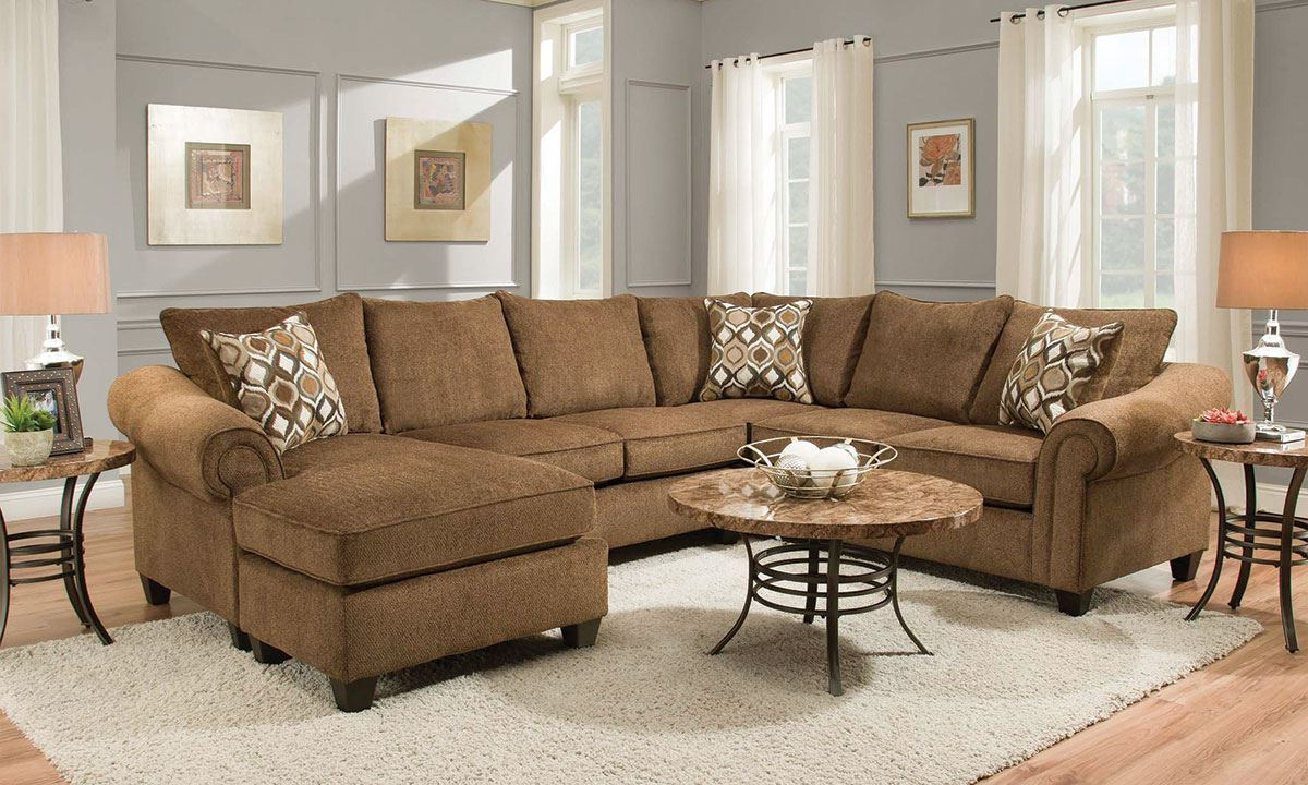 Chocolate Roll Arm Sectional With Reversible Chaise (View 10 of 20)