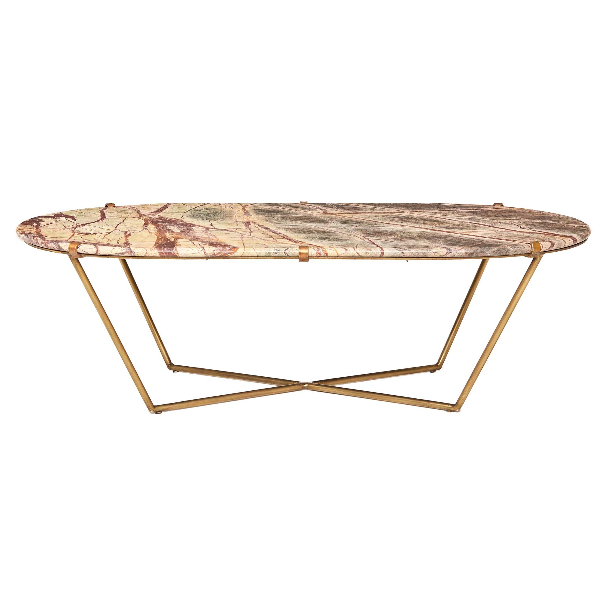Clipper Coffee Table, Antique Brass And Variegated Veined Marble (Gallery 1 of 20)
