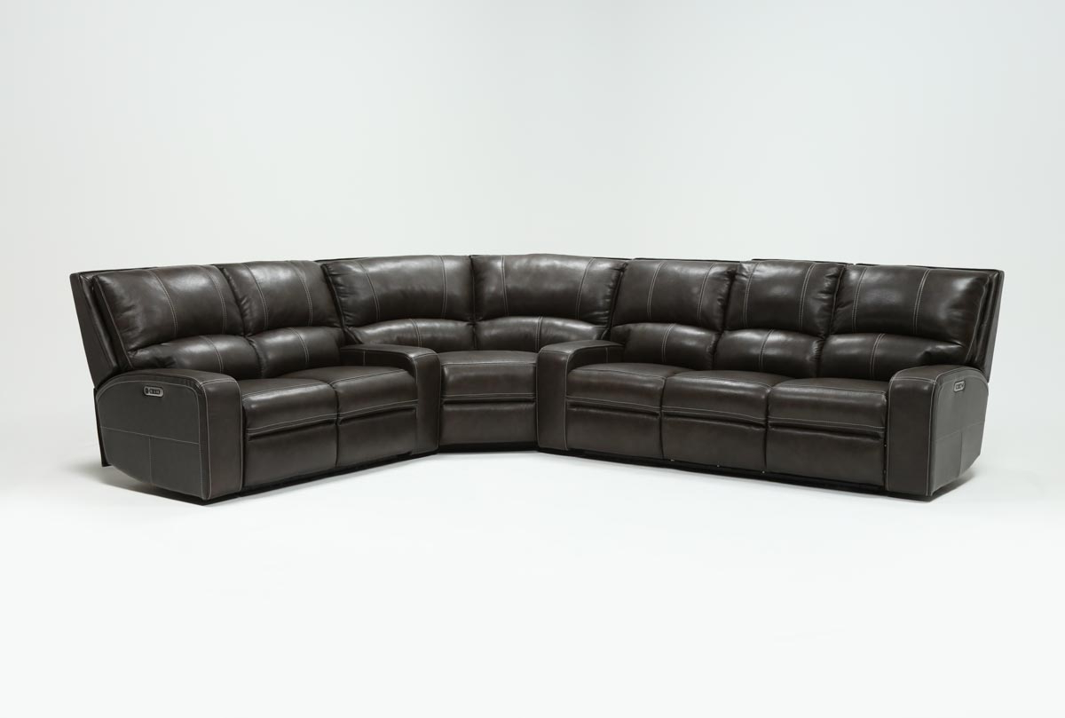 Clyde Grey Leather 3 Piece Power Reclining Sectional W/pwr Hdrst Pertaining To Most Current Clyde Grey Leather 3 Piece Power Reclining Sectionals With Pwr Hdrst & Usb (Gallery 1 of 20)