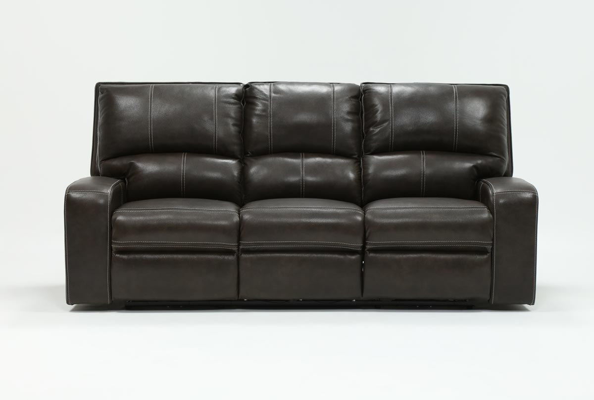 Clyde Grey Leather Power Reclining Sofa W/power Headrest & Usb Intended For Fashionable Marius Dark Grey 3 Piece Sectionals (View 2 of 20)