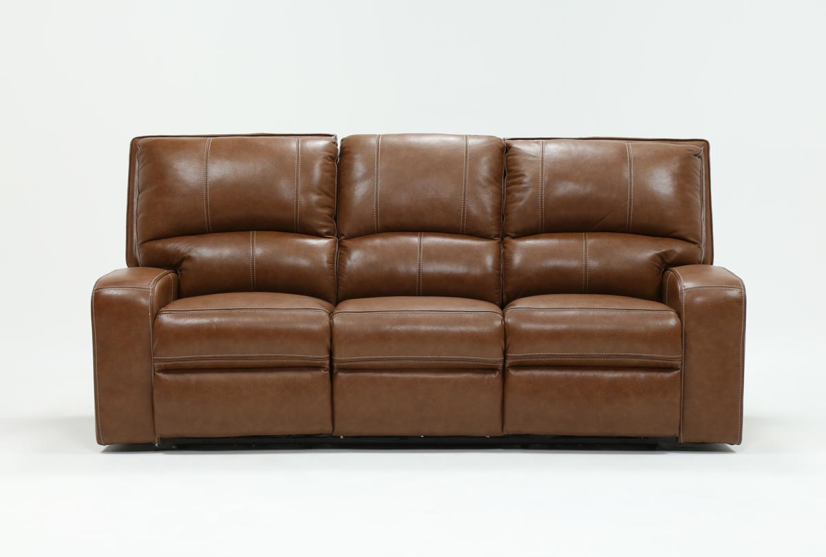 Clyde Saddle 3 Piece Power Reclining Sectionals With Power Headrest & Usb Inside Most Recent Clyde Saddle Leather Power Reclining Sofa W/power Headrest & Usb (View 3 of 20)