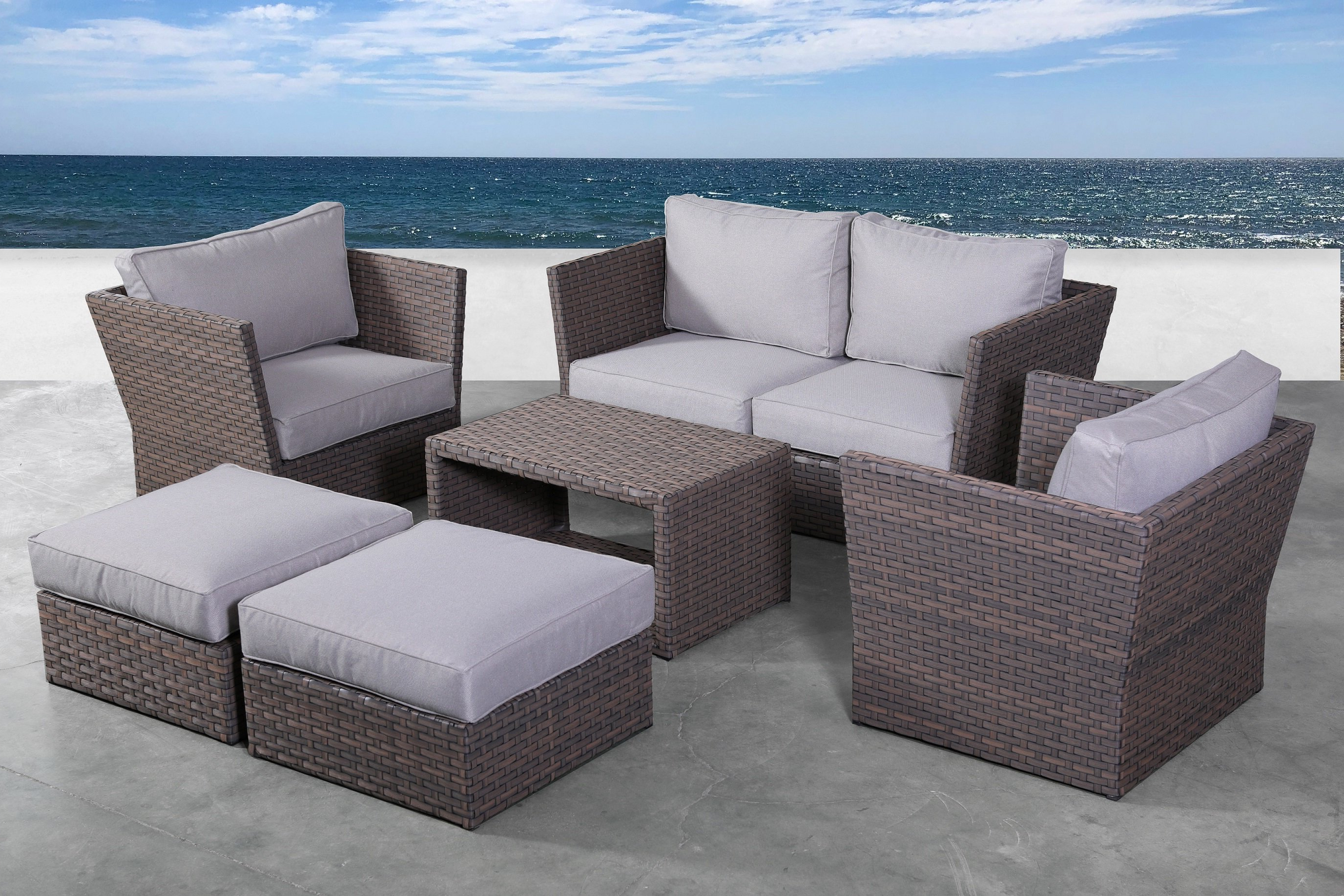 Cody Expandable Cocktail Tables Inside Famous Rosecliff Heights Cody 7 Piece Rattan Sectional Seating Group With (View 14 of 20)