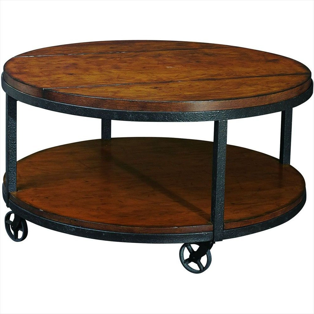 Coffee Table: Large Round Coffee Table With Wheels Coffee Table With Intended For Fashionable Iron Wood Coffee Tables With Wheels (View 16 of 20)