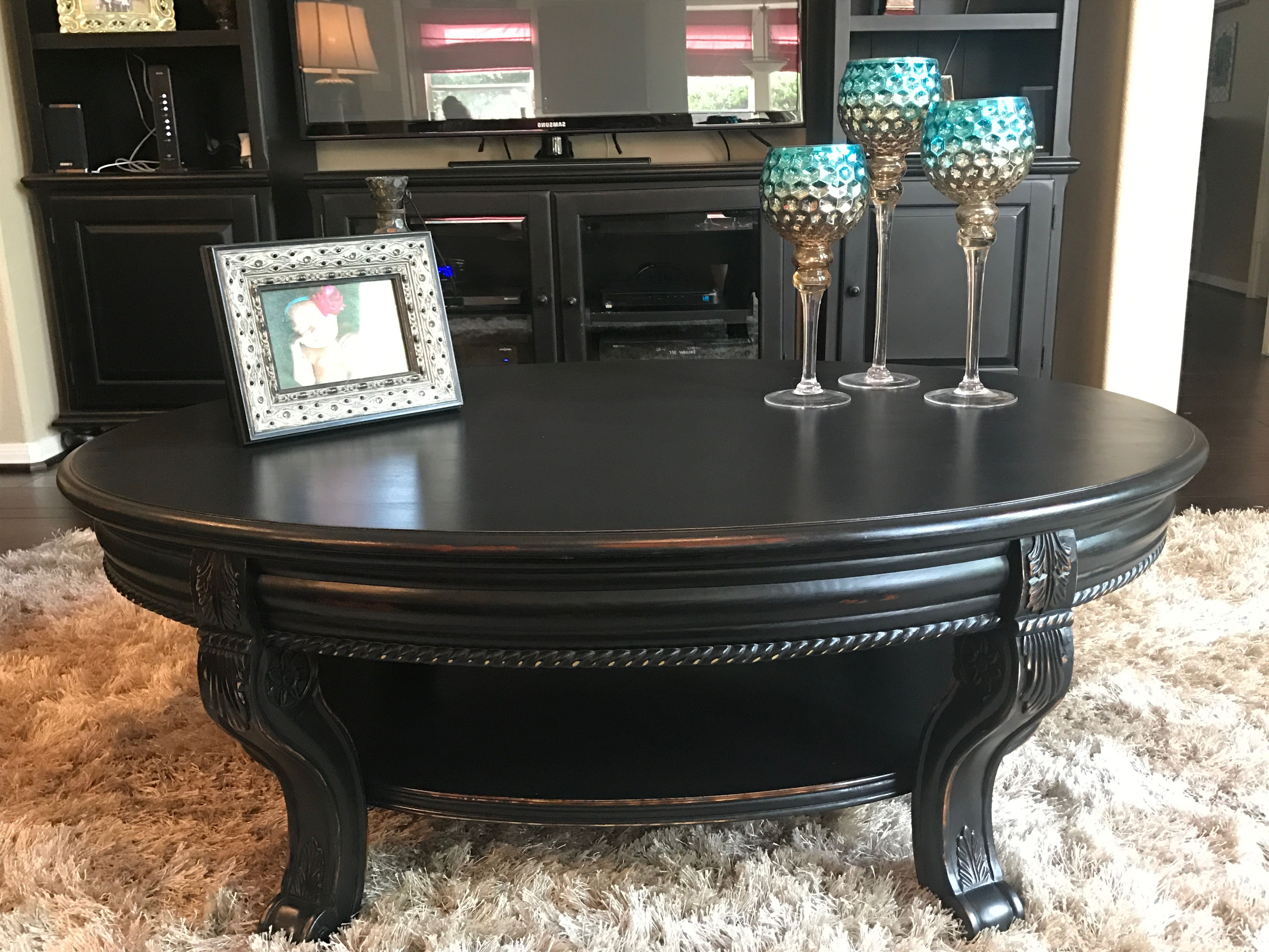 Coffee Table Refinished In Valspar Black Boots And Distressed Within Most Popular Donnell Coffee Tables (View 12 of 20)