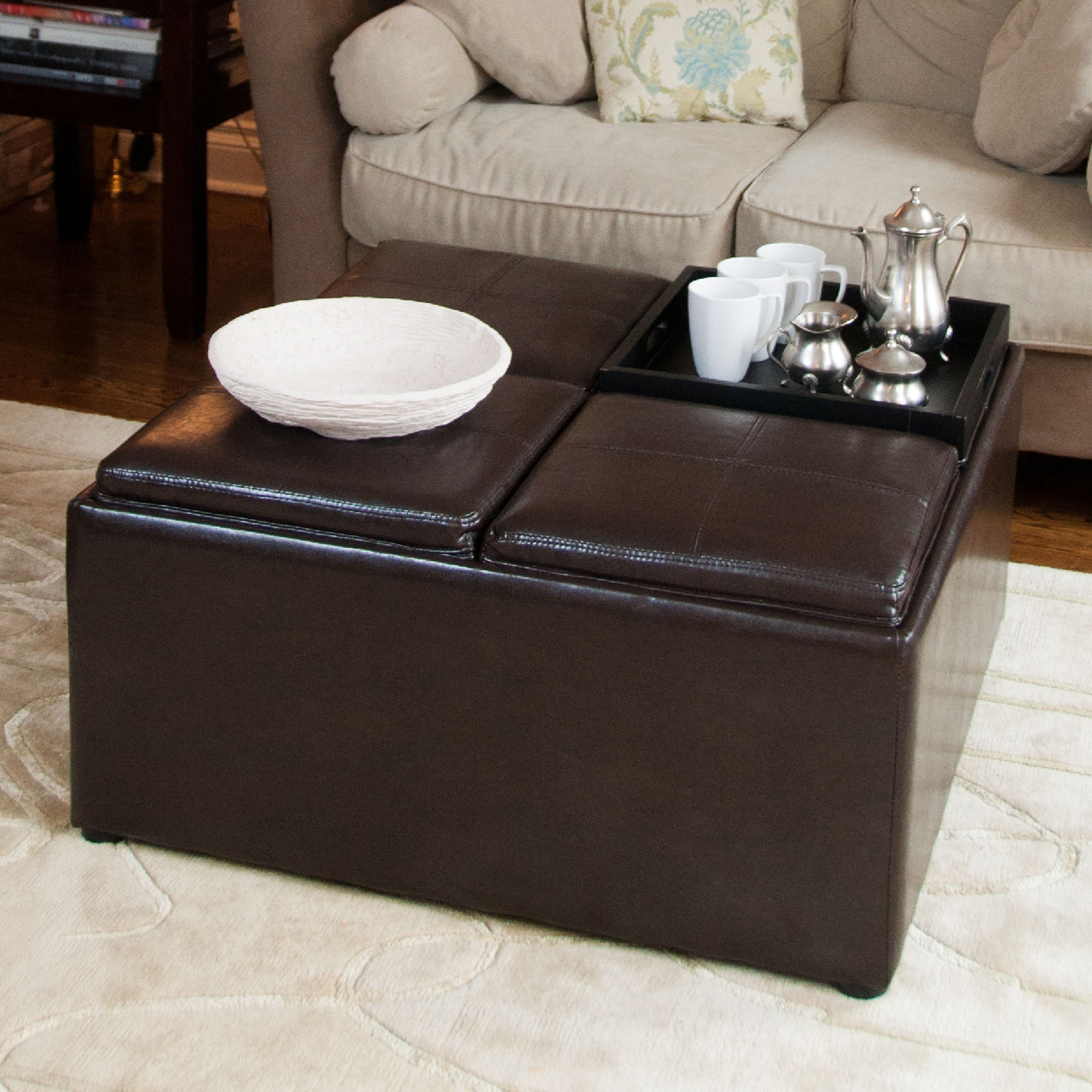 Coffee Tables : Table Coffee Table That Raises Up Circle Coffee Pertaining To Most Recent Mill Large Leather Coffee Tables (View 3 of 20)