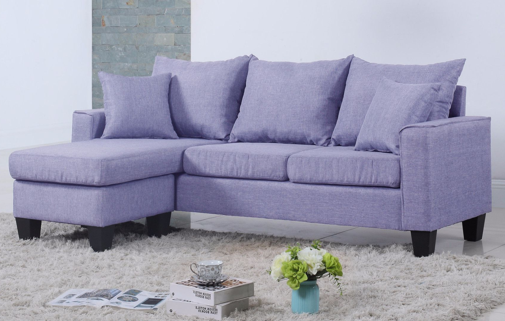 Collins Sofa Sectionals With Reversible Chaise With Regard To Newest Modern Linen Fabric Small Space Sectional Sofa With Reversible (View 4 of 20)