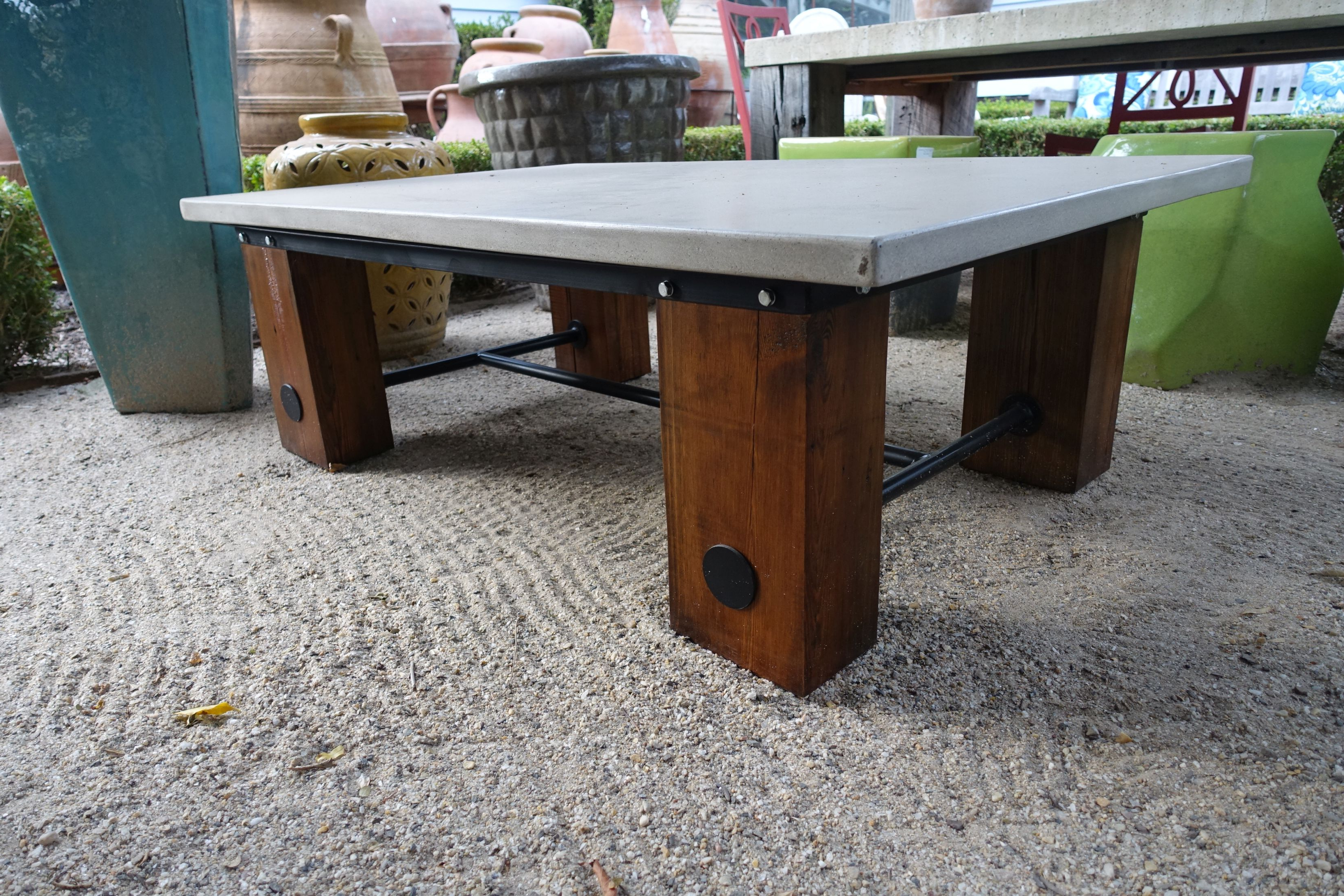 Concrete And Reclaimed Wood Coffee Table – Mecox Gardens Intended For Well Known Reclaimed Pine & Iron Coffee Tables (Gallery 9 of 20)