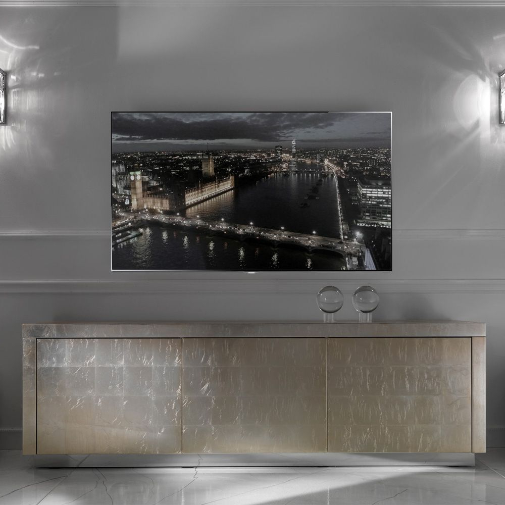 Contemporary Champagne Silver Leaf Sideboard Tv Unit (View 13 of 20)