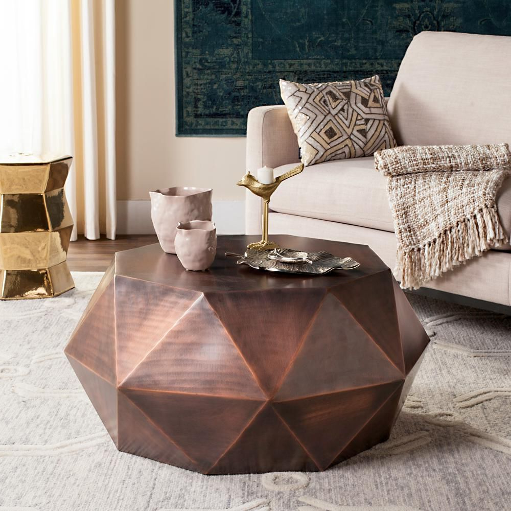 Copper Coffee Table For Geo Faceted Coffee Tables (View 4 of 20)