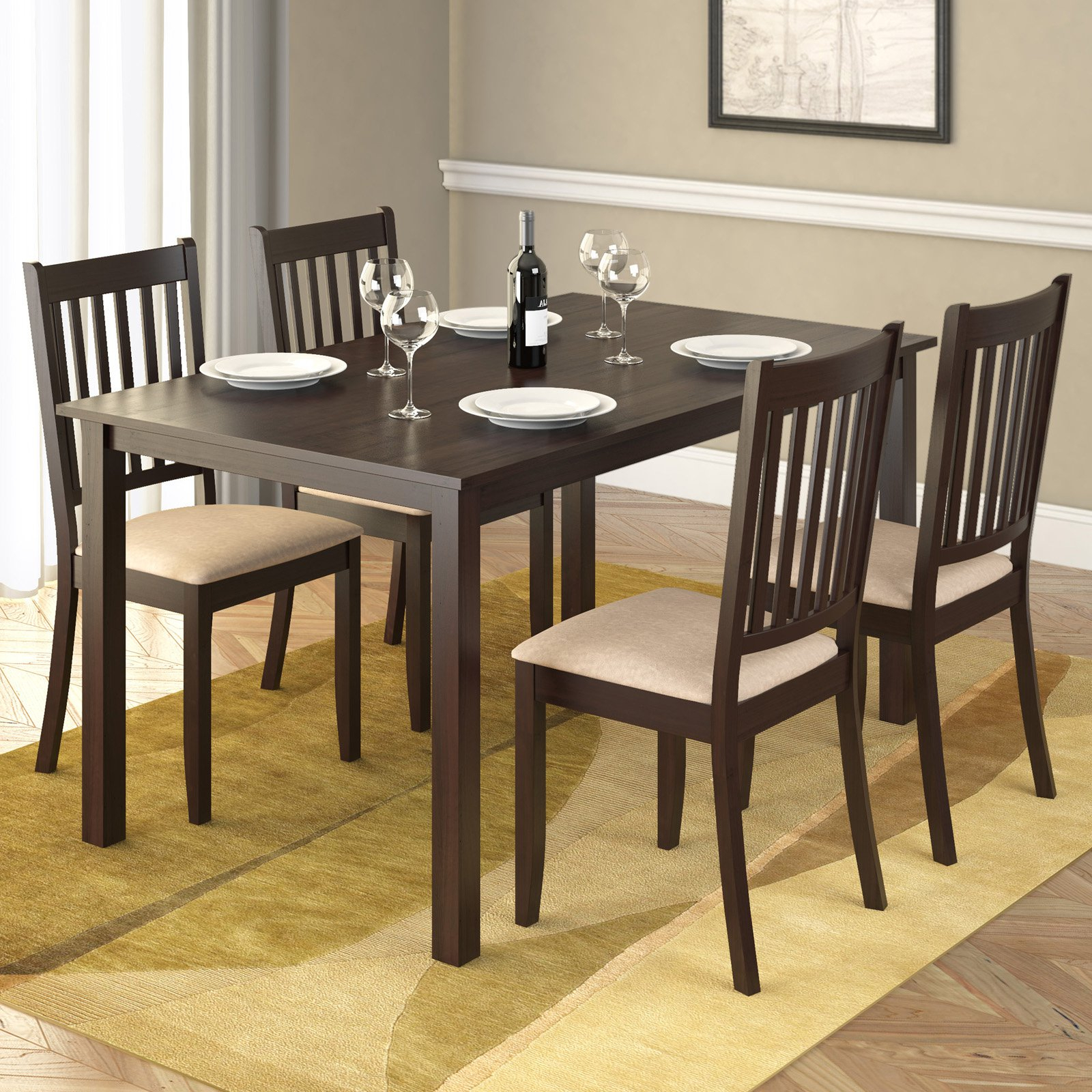 Corliving Atwood 5 Piece Dining Table Set With Beige Microfiber Within Best And Newest Rani 4 Door Sideboards (View 13 of 20)