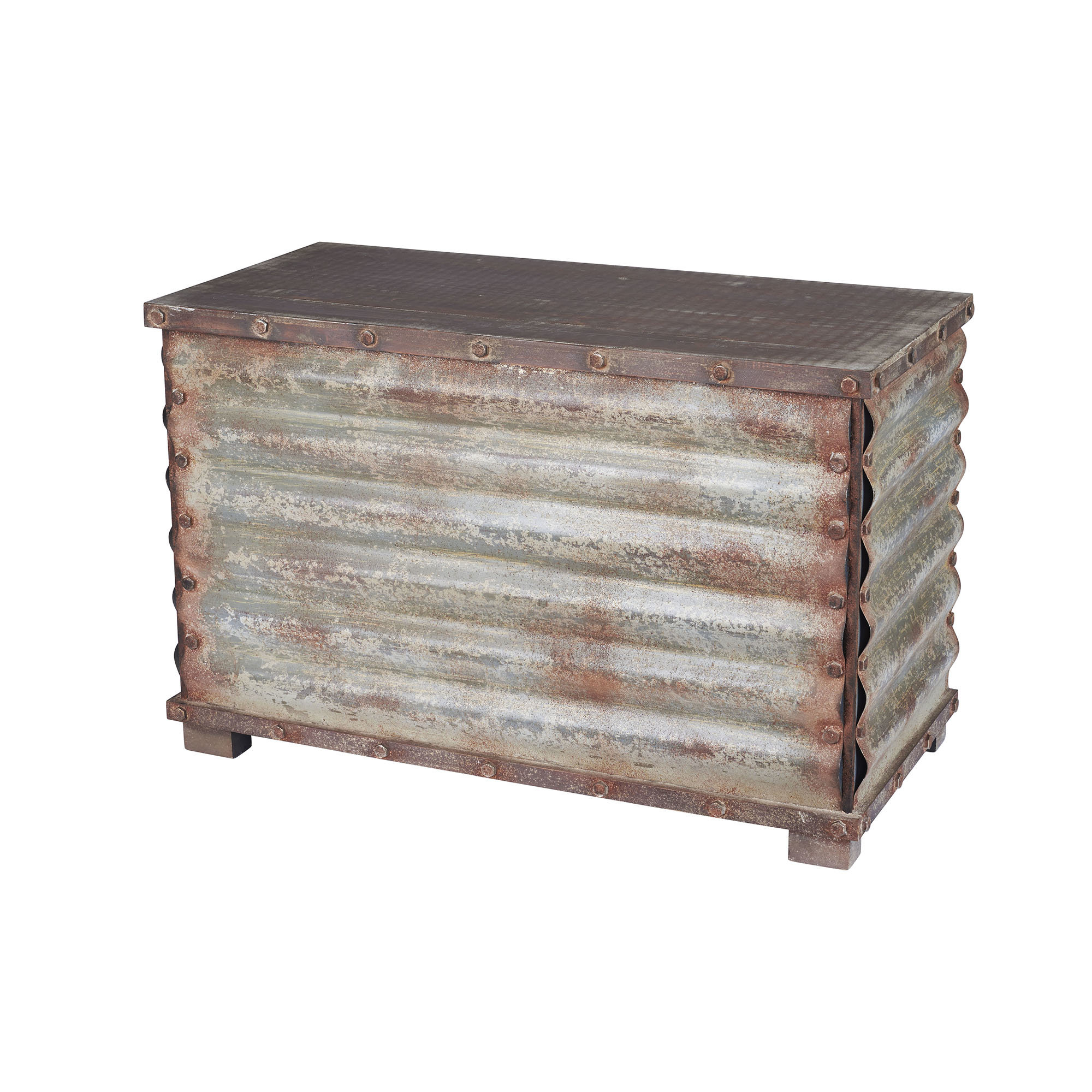 Corrugated Metal Sideboards Intended For 2018 Carbondale Corrugated Coffee Table Trunk & Reviews (View 20 of 20)