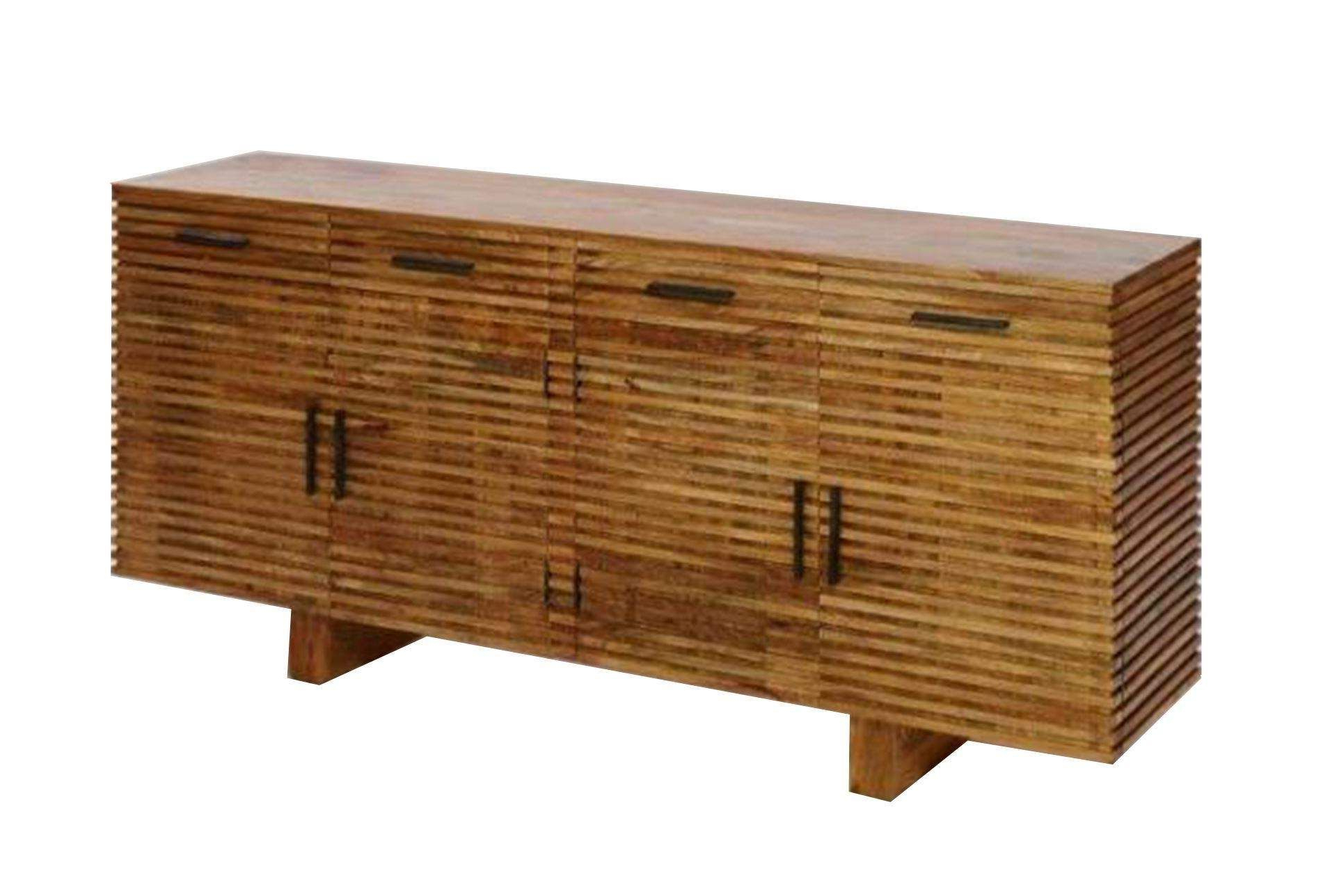 Corrugated Natural 4 Drawer Sideboard (Gallery 10 of 20)