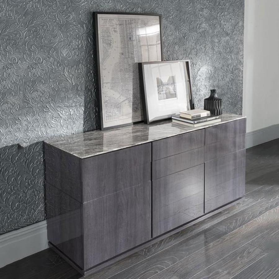 Corrugated White Wash Sideboards For Preferred Vida Living Donatella Grey Marble Sideboard (Gallery 13 of 20)