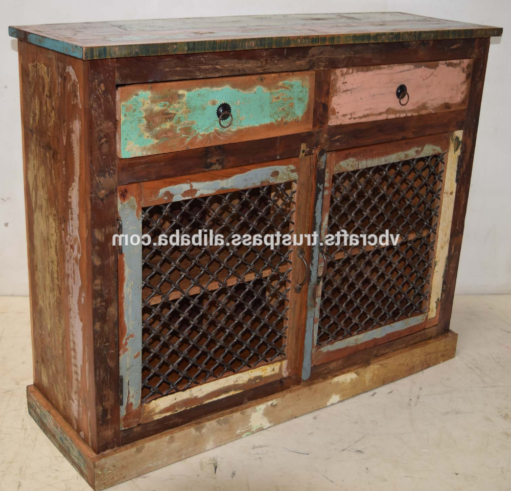 Corrugated White Wash Sideboards Regarding Popular Recycled Scrap Color Wood Iron Jali Panel Sideboard – Buy Reclaimed (View 7 of 20)