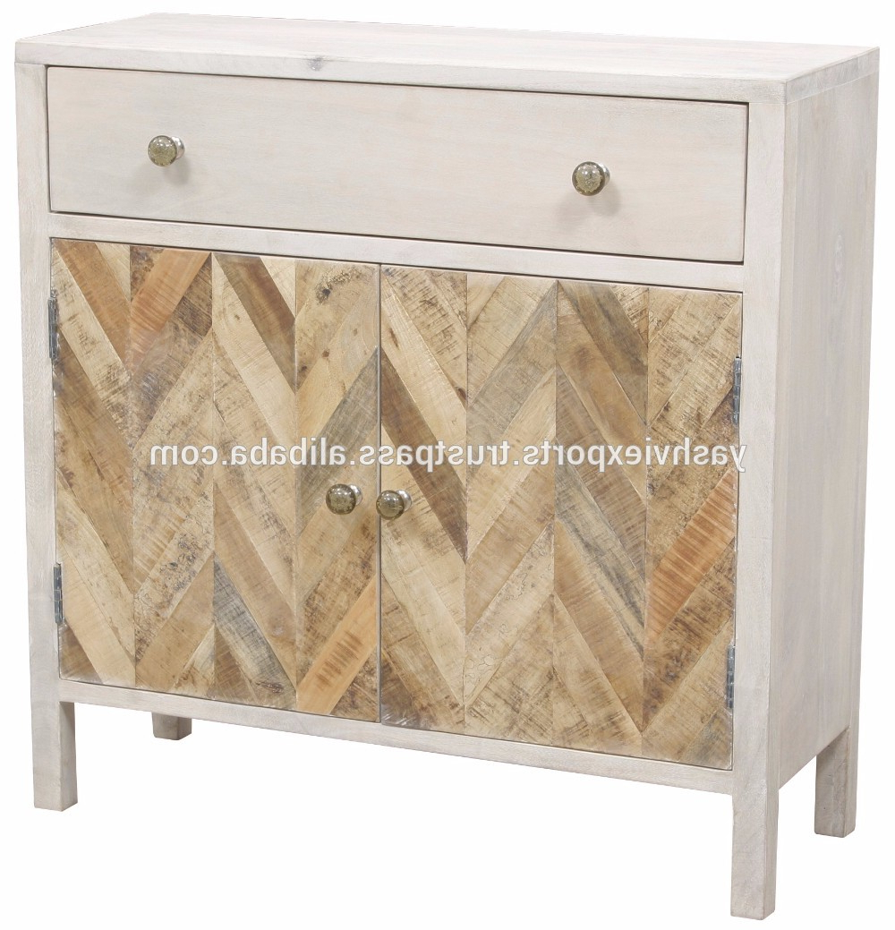 Corrugated White Wash Sideboards Within Latest Hand Painted White Washed Acacia Wood Sidebaord – Buy Two Door And (View 10 of 20)