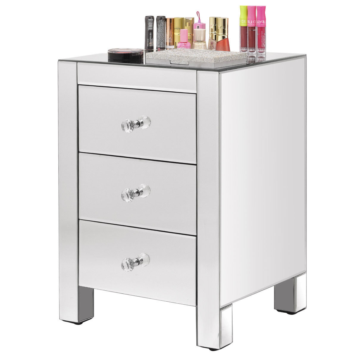 Costway: Costway Mirrored Nightstand 3 Drawer Modern Mirror End Intended For Most Up To Date Charcoal Finish 4 Door Jumbo Sideboards (Gallery 12 of 20)