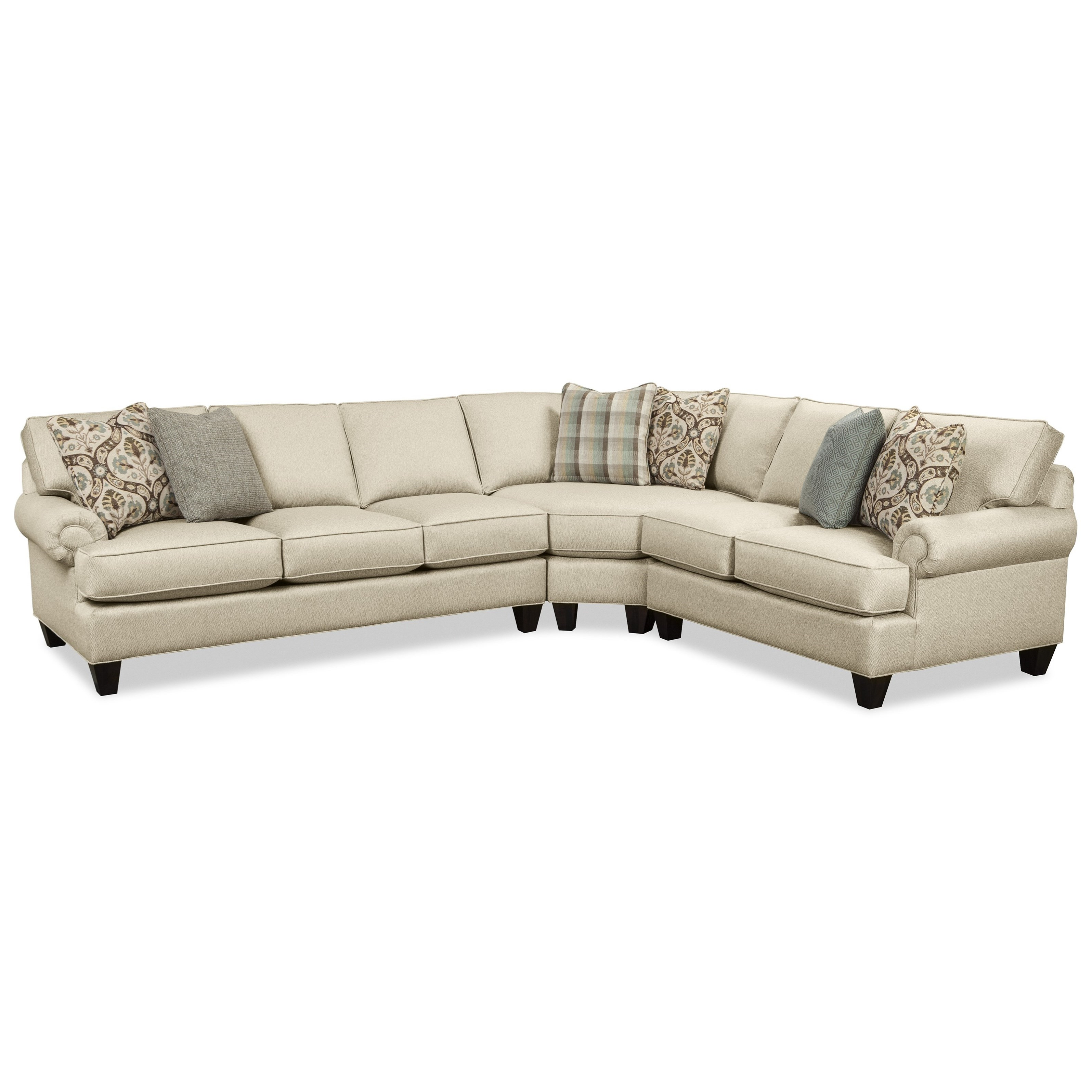 Craftmaster C9 Custom Collection Customizable Three Piece Sectional With Regard To Latest Tatum Dark Grey 2 Piece Sectionals With Raf Chaise (Gallery 16 of 20)