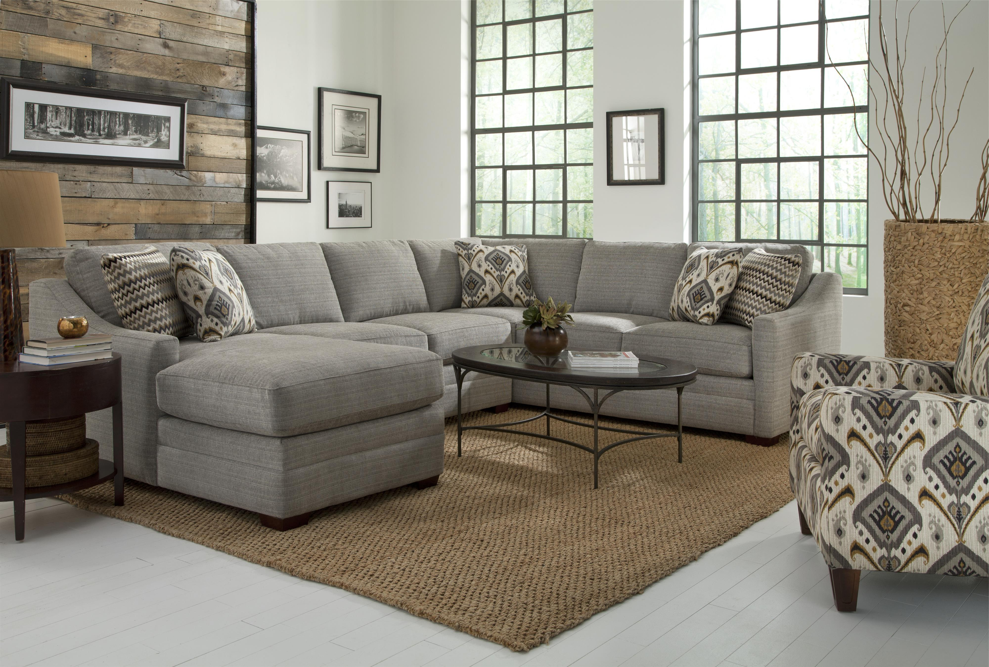 Craftmaster F9 Custom Collection Customizable Four Piece Sectional Inside Favorite Avery 2 Piece Sectionals With Raf Armless Chaise (View 20 of 20)