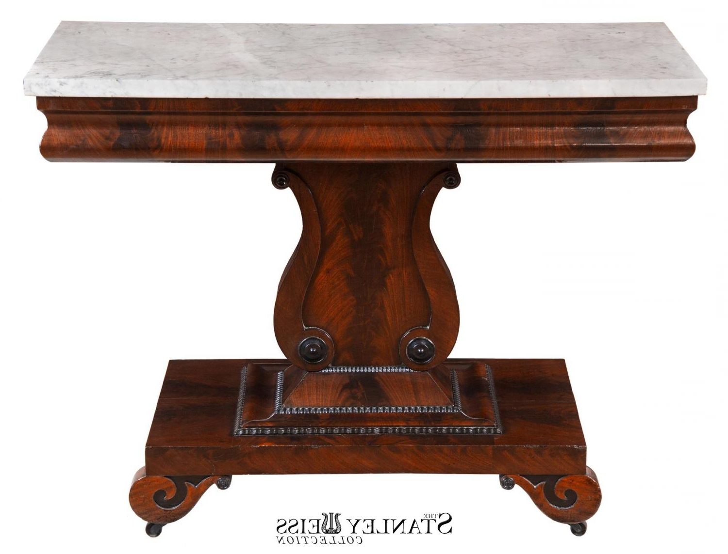 Current A Classical Mahogany And Marble Top Lyre Side Table, C (View 15 of 20)