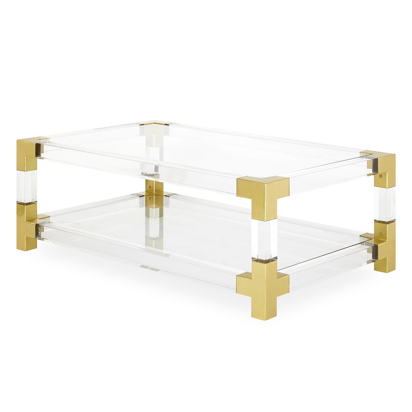 Current Acrylic & Brushed Brass Coffee Tables Within Contemporary Coffee Table / Glass / Brushed Brass / Acrylic (View 6 of 20)