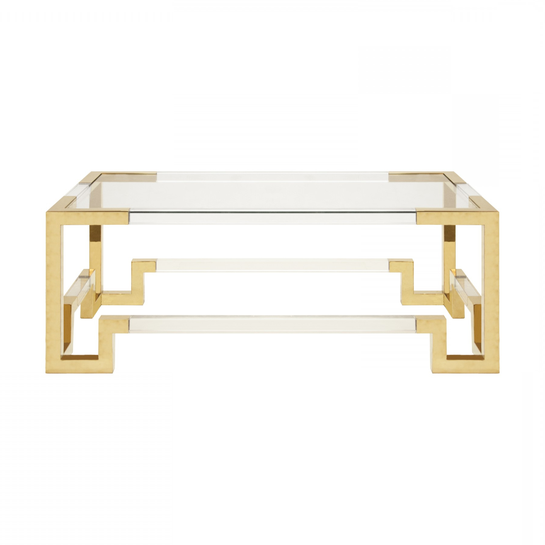 Current Acrylic Glass And Brass Coffee Tables In Newman Acrylic And Glass Coffee Table Brass (Gallery 1 of 20)
