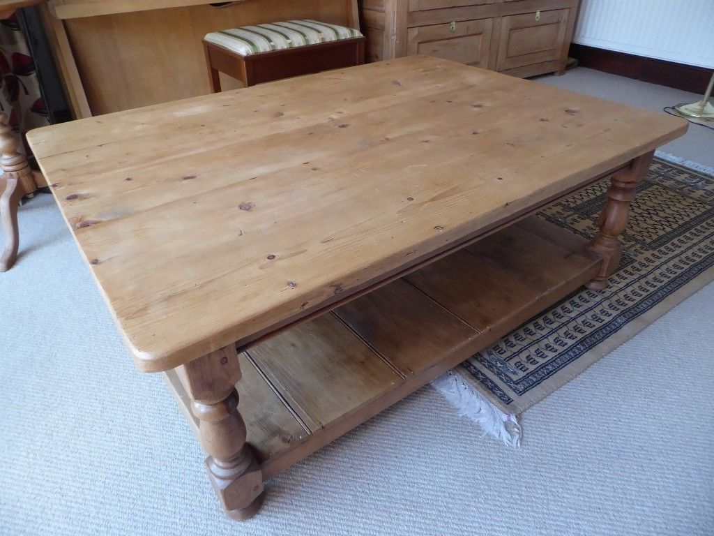 Current Antique Pine Coffee Tables Intended For Large Antique Pine Coffee Table With Under Shelf (View 2 of 20)