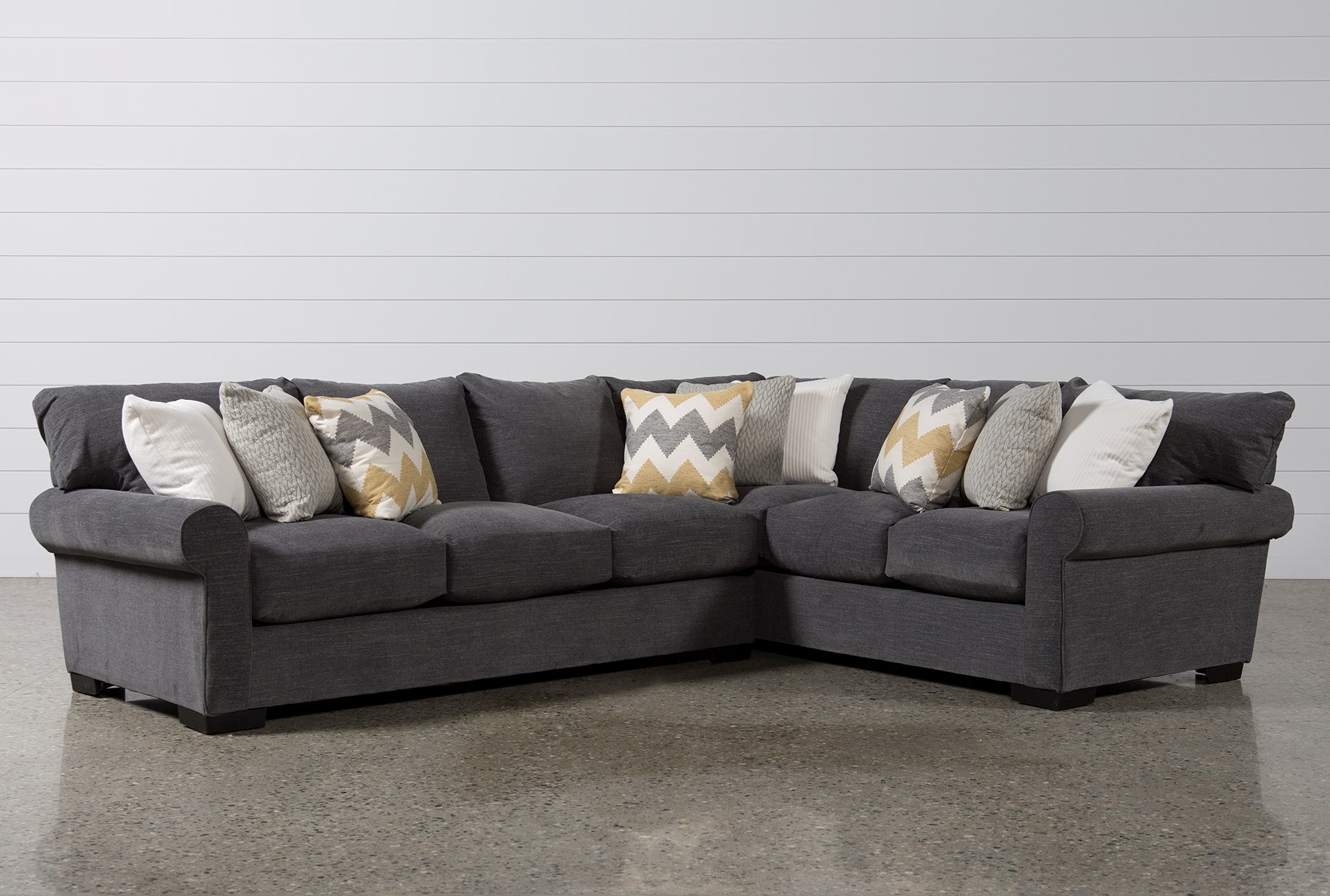 Current Aquarius Light Grey 2 Piece Sectionals With Laf Chaise Regarding Living Spaces Sectional Couches – Tidex (Gallery 20 of 20)