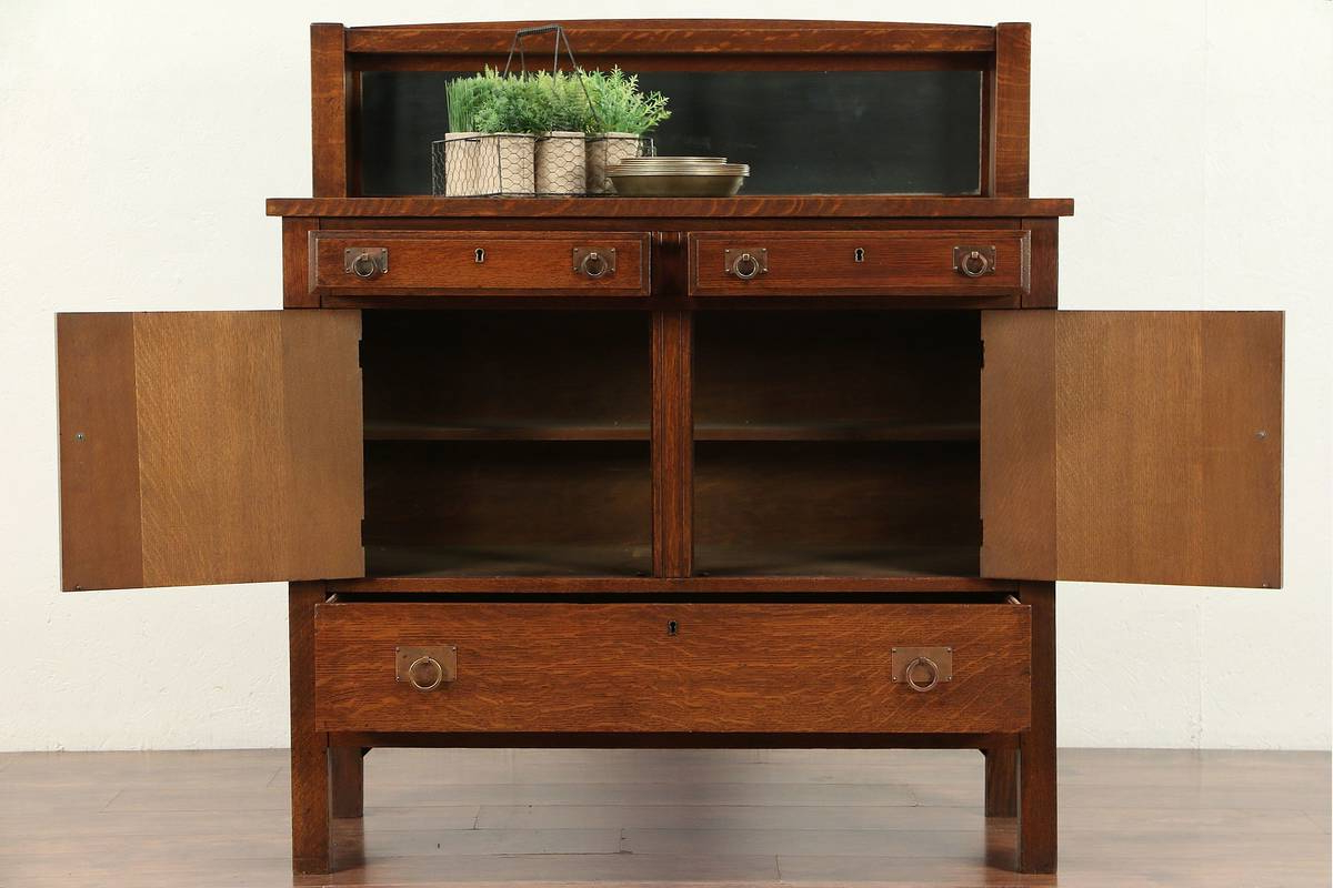 Current Arts & Crafts Mission Oak Antique Craftsman Sideboard, Server Regarding Craftsman Sideboards (Gallery 2 of 20)