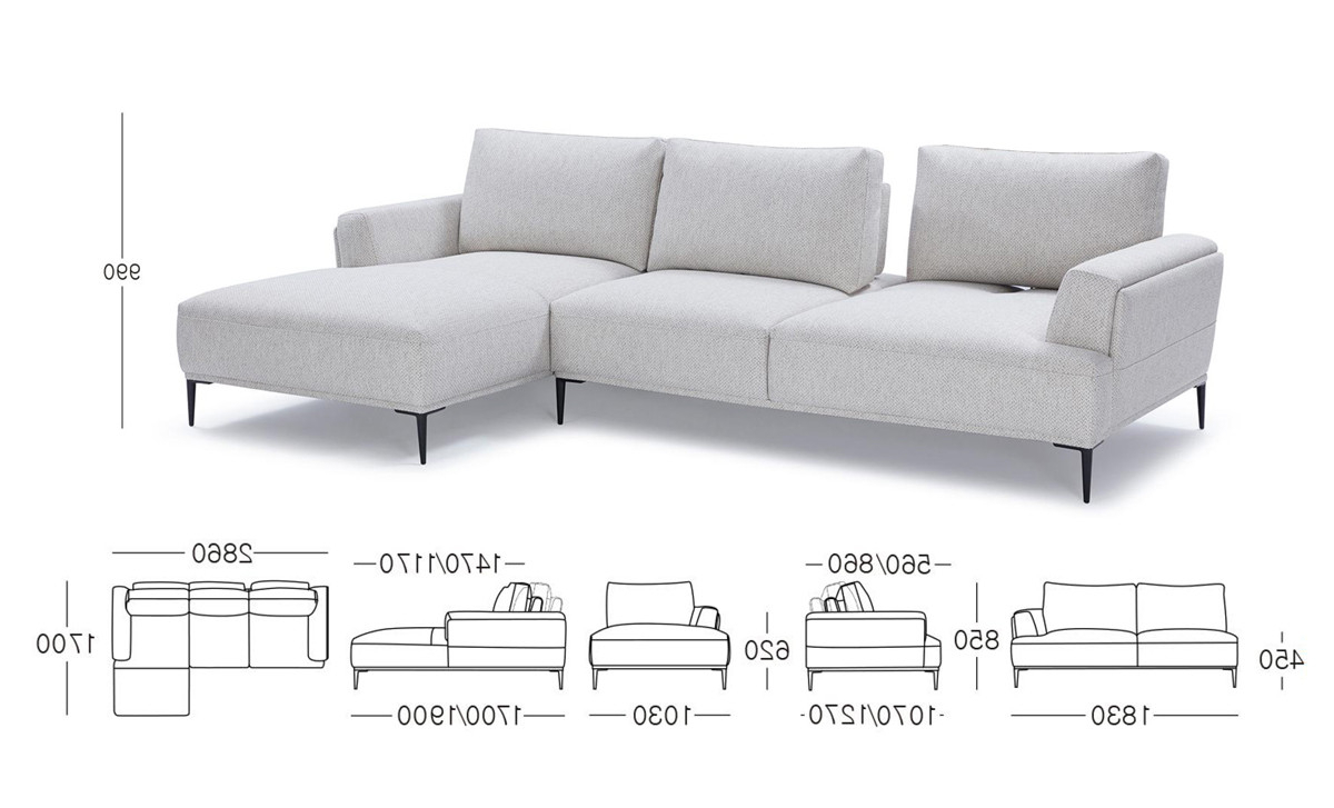 Current Divani Casa Hero Modern Grey Fabric Sectional Sofa W/ Right Facing Throughout Norfolk Grey 3 Piece Sectionals With Raf Chaise (Gallery 19 of 20)