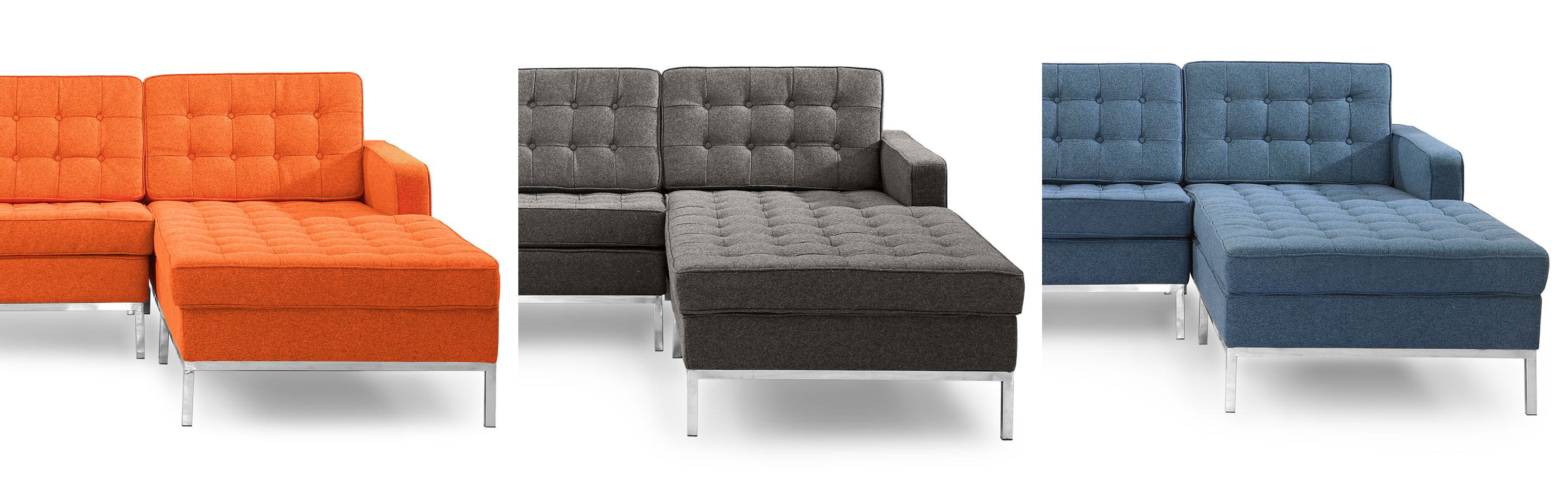 Current Florence Knoll Style Chaise Sectional Left And Right Facing Leather For Nico Grey Sectionals With Left Facing Storage Chaise (Gallery 6 of 20)