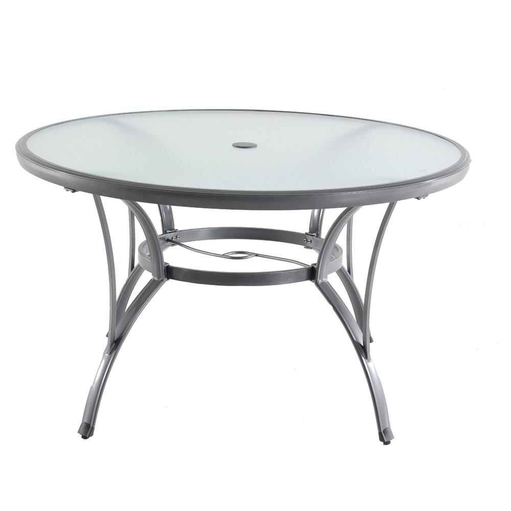 Current Hampton Bay Commercial Grade Aluminum Grey Round Glass Outdoor With Regard To 33 Inch Industrial Round Tables (View 2 of 20)