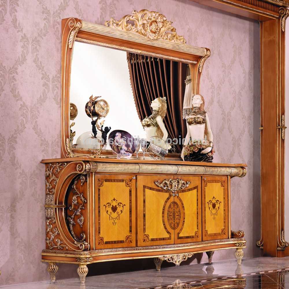 Current Luxury French Style Empire Dining Room Sideboard/european Wood Pertaining To Carved 4 Door Metal Frame Sideboards (View 17 of 20)