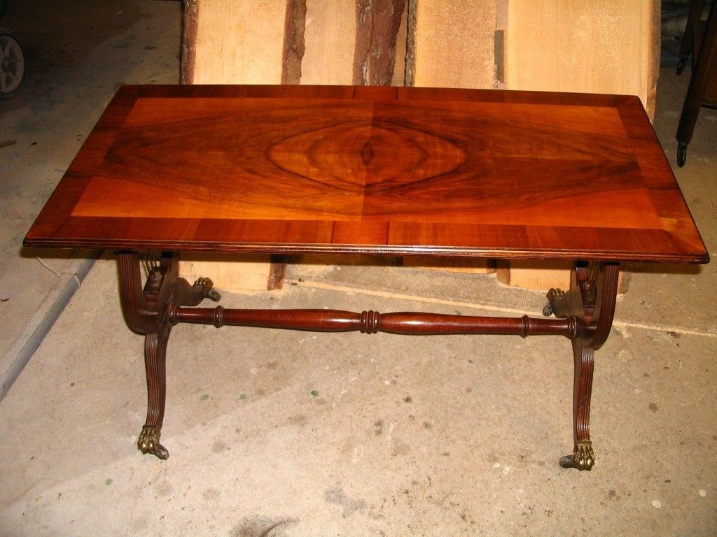 Current Old Coffee Table, Vintage Retro Mahogany Lyre Pedestal / Base Table For Lyre Coffee Tables (View 11 of 20)