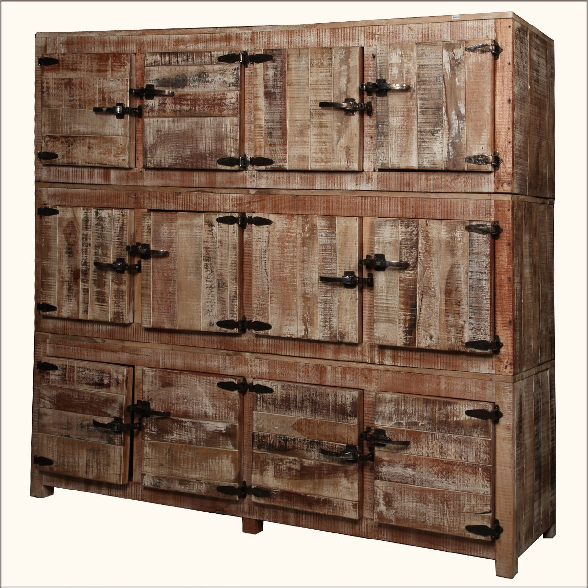 Current Reclaimed 3 Drawer Icebox Sideboards Pertaining To Large Rustic Reclaimed Wood 12 Storage Box Wall Unit Storage Cabinet (View 4 of 20)