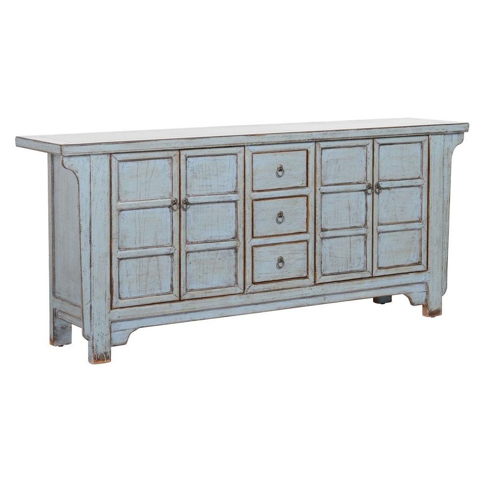 "Current Reclaimed Pine 4 Door Sideboards Pertaining To 77"" Sideboard Cabinet Solid Reclaimed Pine 4 Door 3 Drawer Iron (View 11 of 20)"