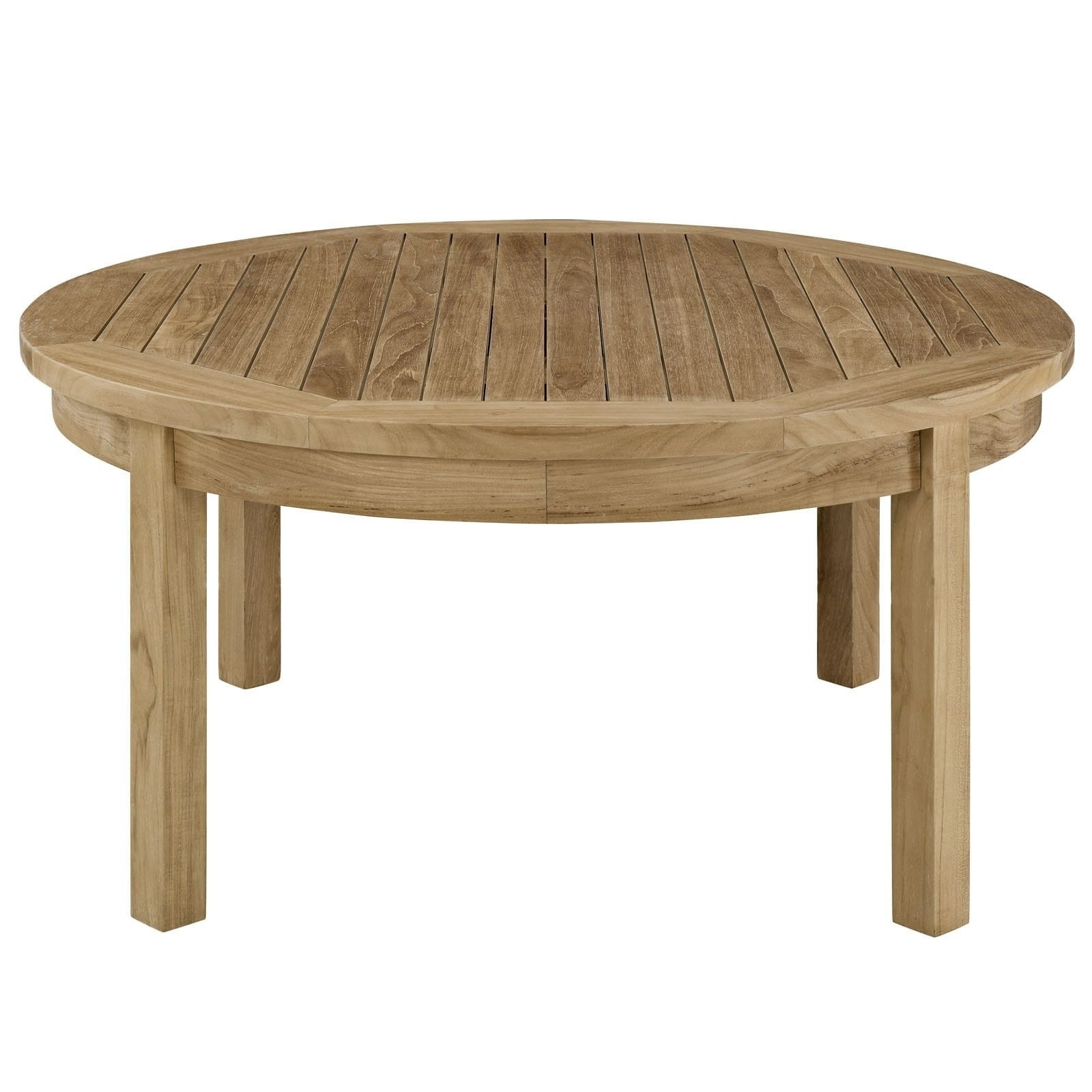 Current Shop Oliver & James Detaille Outdoor Round Teak Coffee Table – On In Round Teak Coffee Tables (View 5 of 20)