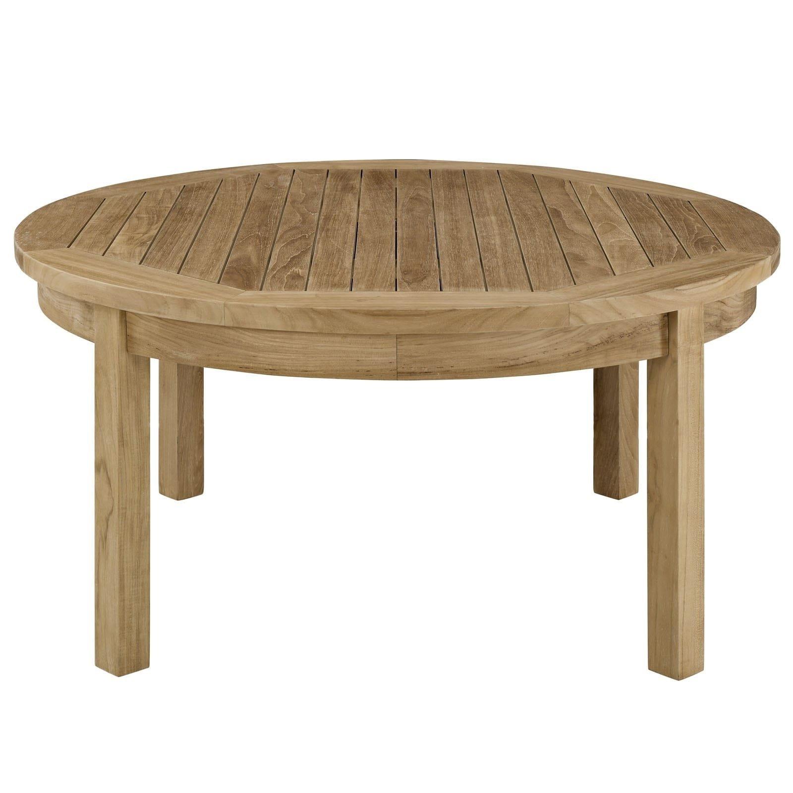 Current Shop Oliver & James Detaille Outdoor Round Teak Coffee Table – On In Round Teak Coffee Tables (Gallery 5 of 20)