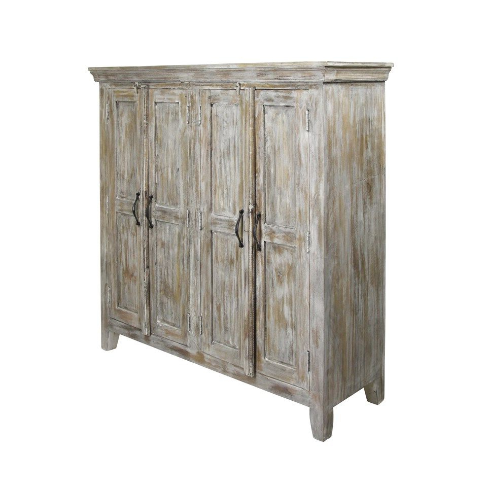 Current Solid Mango Wood Sideboard In Distressed White Wash Finish (View 2 of 20)