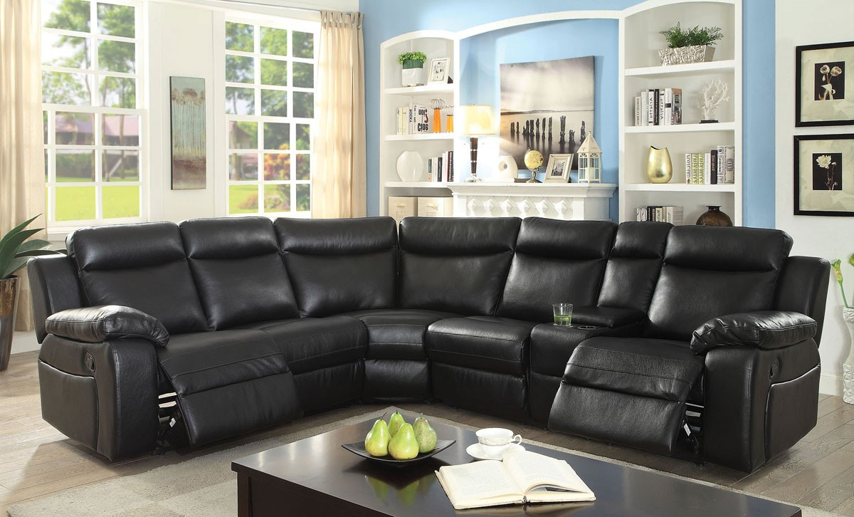 Current Waylon 3 Piece Power Reclining Sectionals With Waylon Recliner Sectional Black Leather (Gallery 4 of 20)