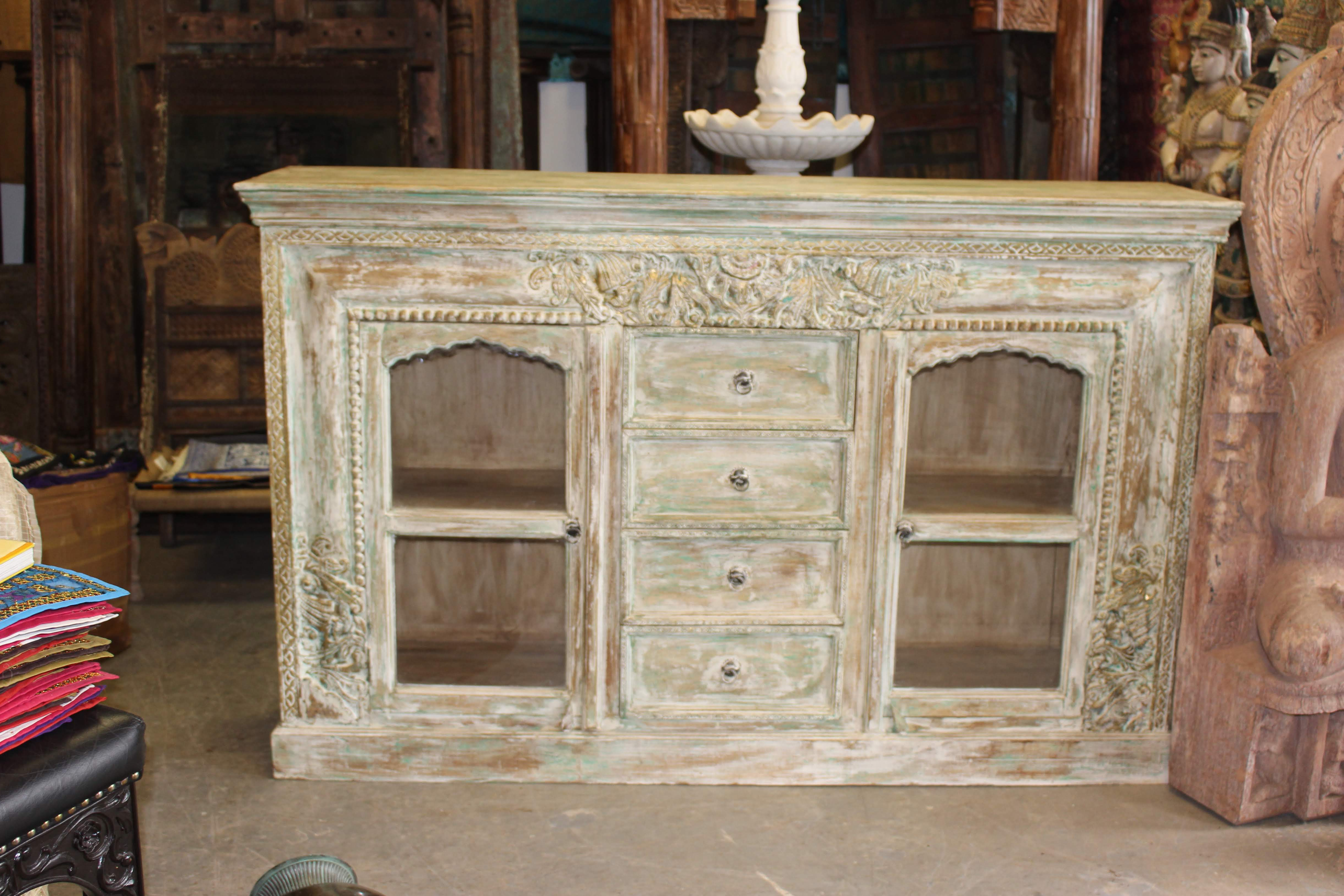Current White Wash 4 Door Sideboards For Antique Ivory Carved Brass Inlay Indian Hand Carving Chest 4 Drawer (Gallery 11 of 20)