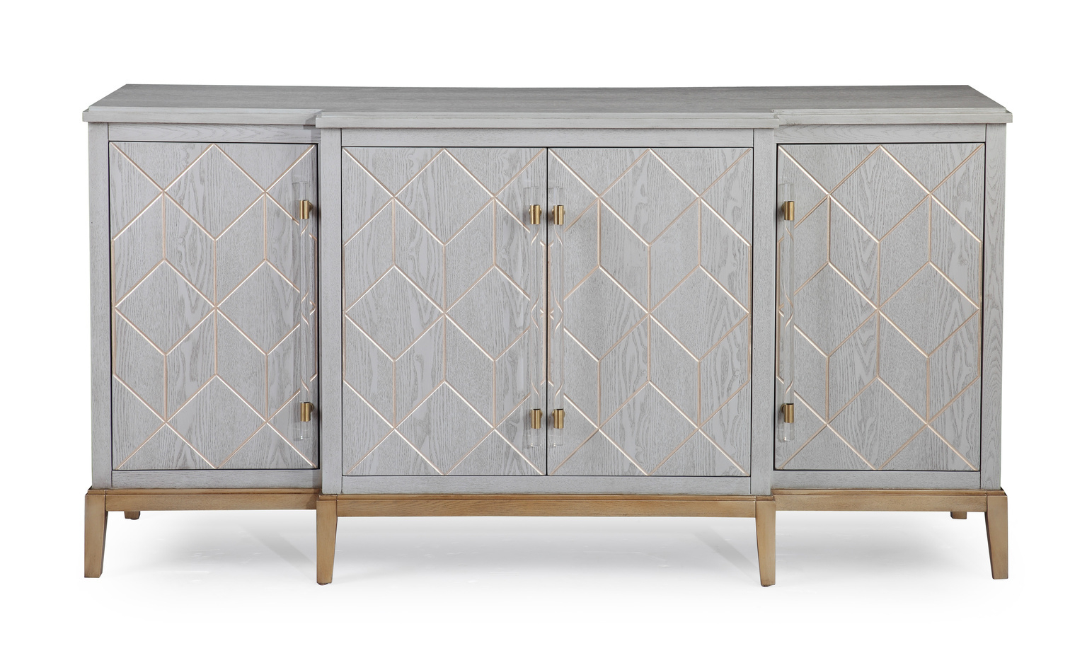 Current White Wood Gold Base Sideboard Cabinet With Regard To Geo Pattern Black And White Bone Inlay Sideboards (View 5 of 20)